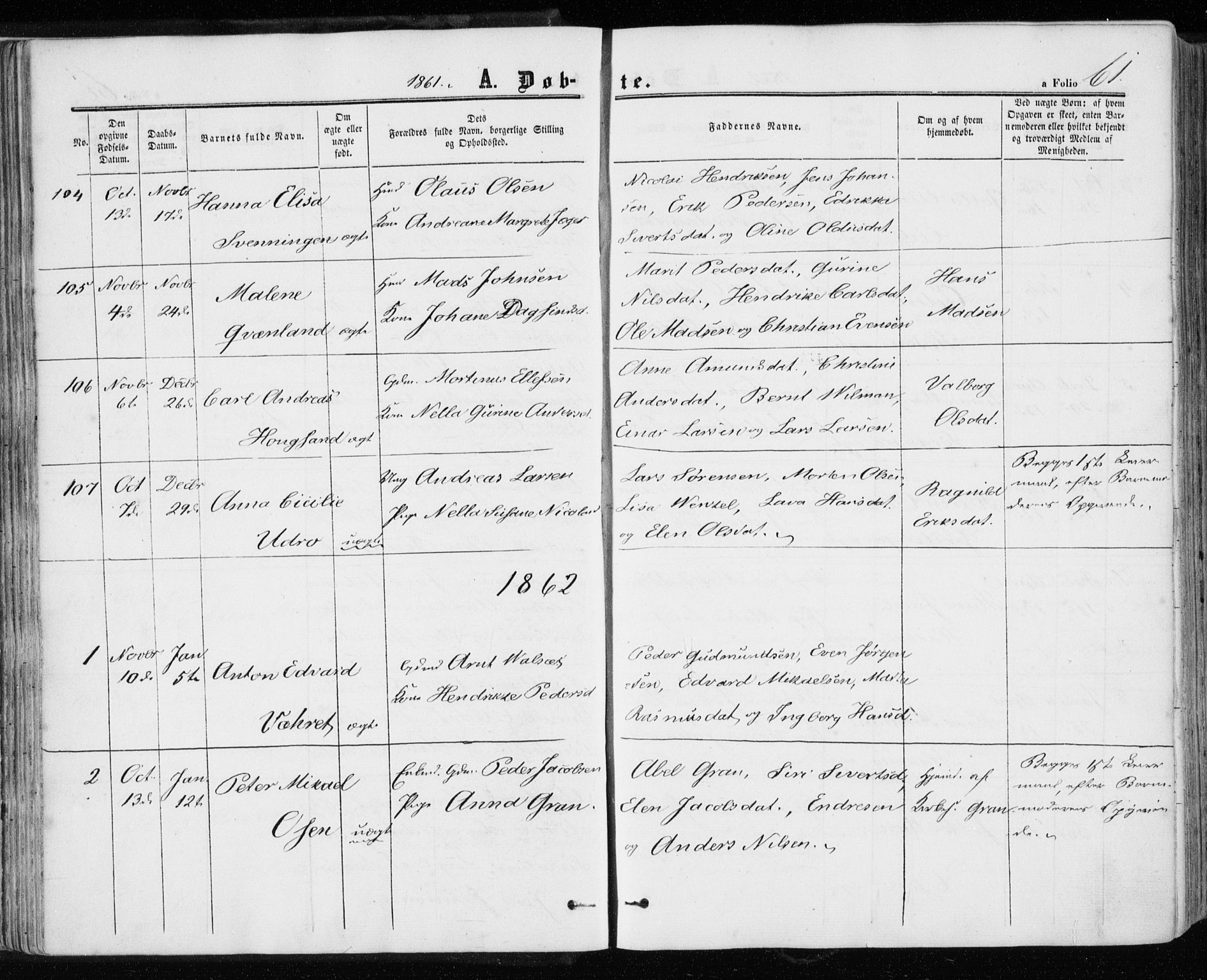 SAT, Ministerialprotokoller, klokkerbøker og fødselsregistre - Sør-Trøndelag, 657/L0705: Ministerialbok nr. 657A06, 1858-1867, s. 61
