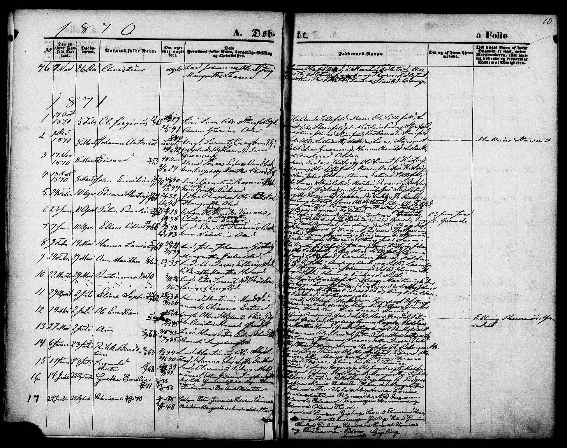 SAT, Ministerialprotokoller, klokkerbøker og fødselsregistre - Nord-Trøndelag, 744/L0419: Ministerialbok nr. 744A03, 1867-1881, s. 10