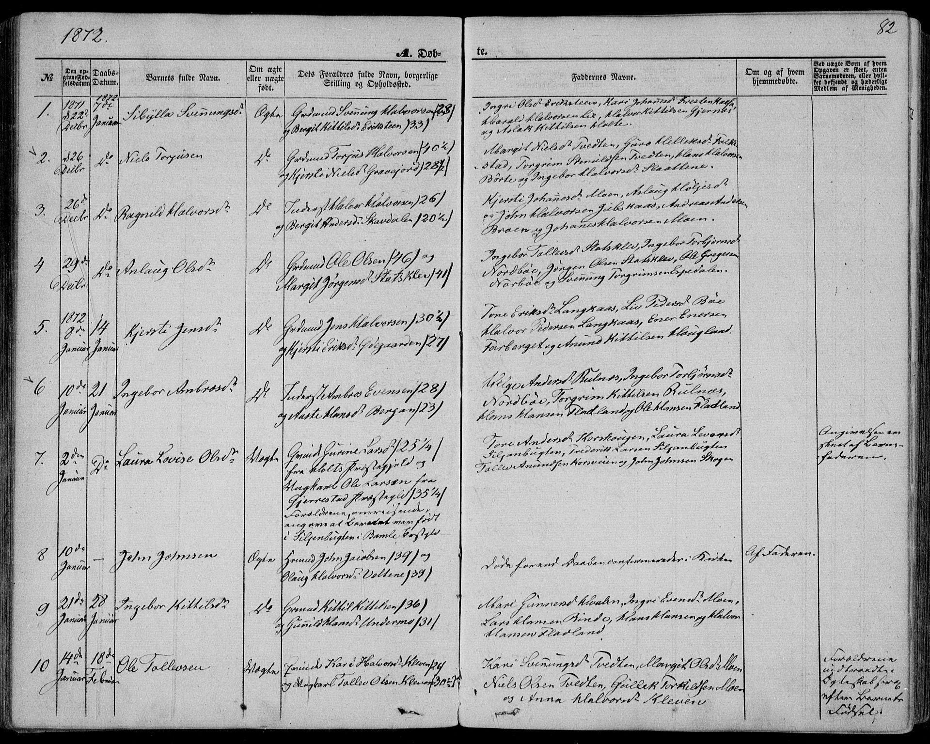 SAKO, Bø kirkebøker, F/Fa/L0009: Ministerialbok nr. 9, 1862-1879, s. 82