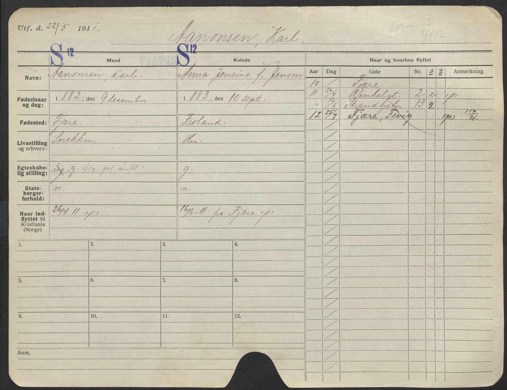 SAO, Oslo folkeregister, Registerkort, F/Fa/Fac/L0011: Menn, 1906-1914, s. 1176a
