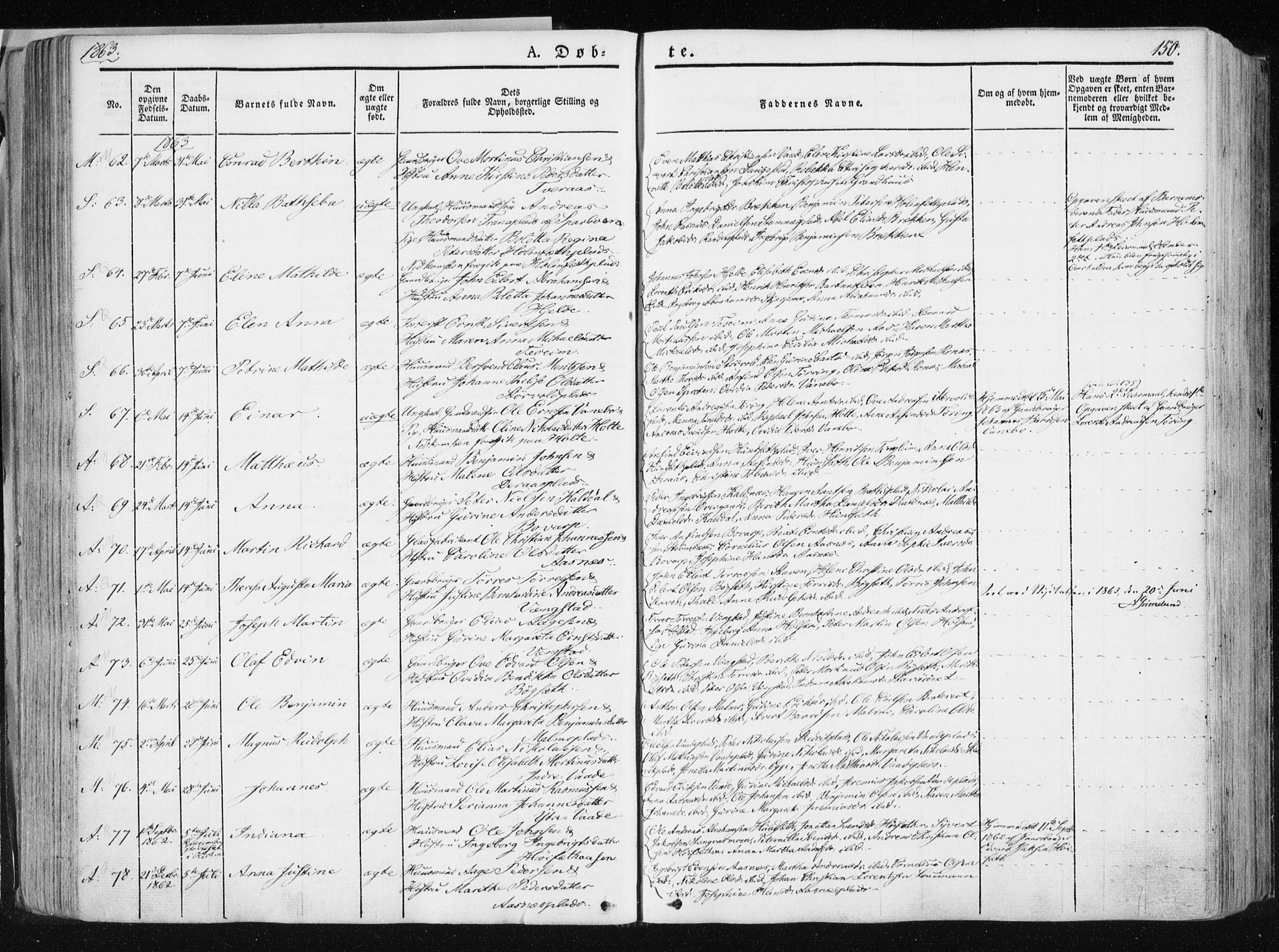 SAT, Ministerialprotokoller, klokkerbøker og fødselsregistre - Nord-Trøndelag, 741/L0393: Ministerialbok nr. 741A07, 1849-1863, s. 150
