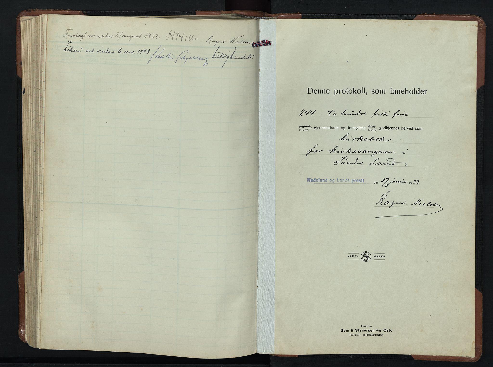SAH, Søndre Land prestekontor, L/L0009: Klokkerbok nr. 9, 1933-1954