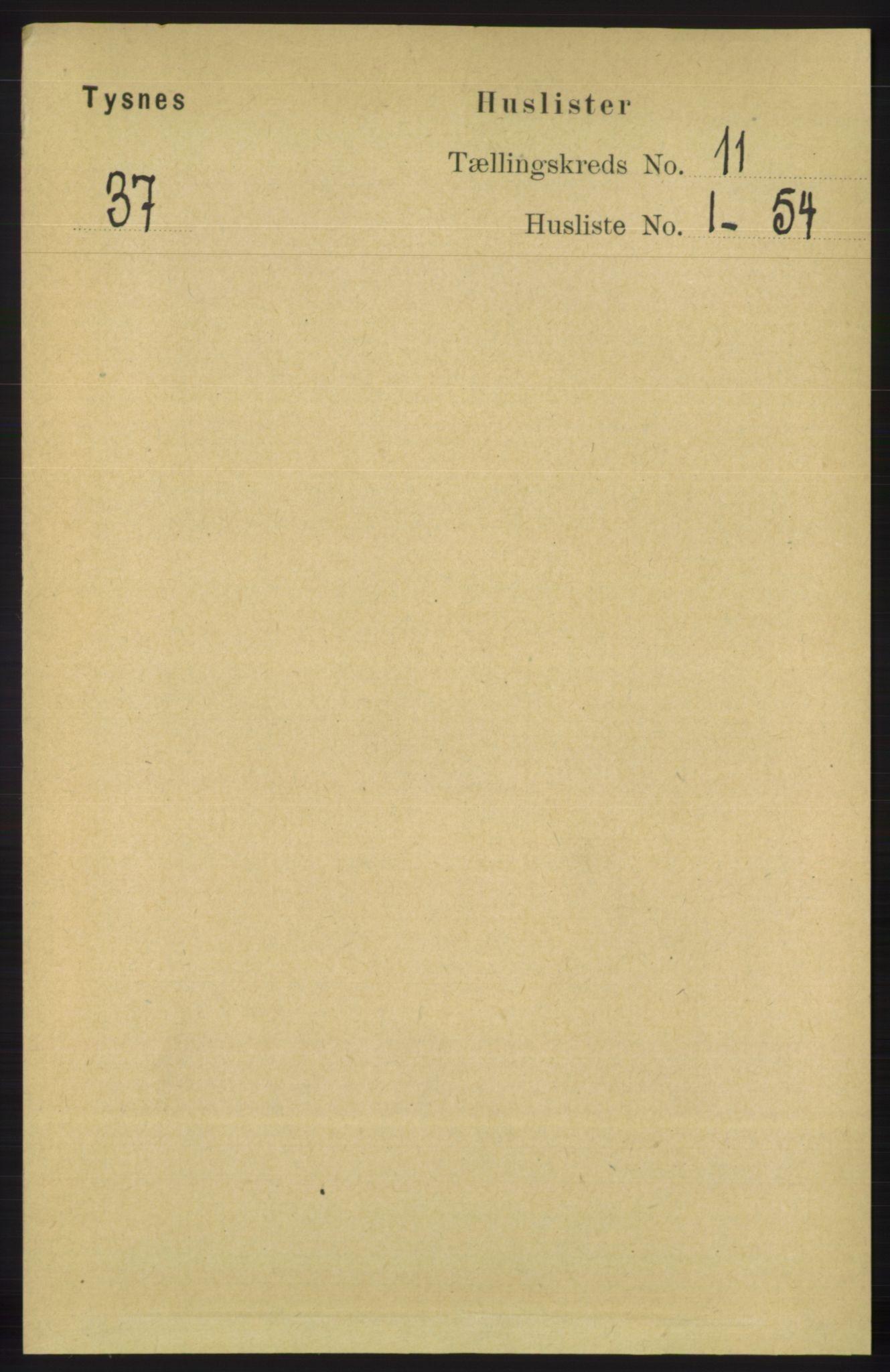 RA, Folketelling 1891 for 1223 Tysnes herred, 1891, s. 5304