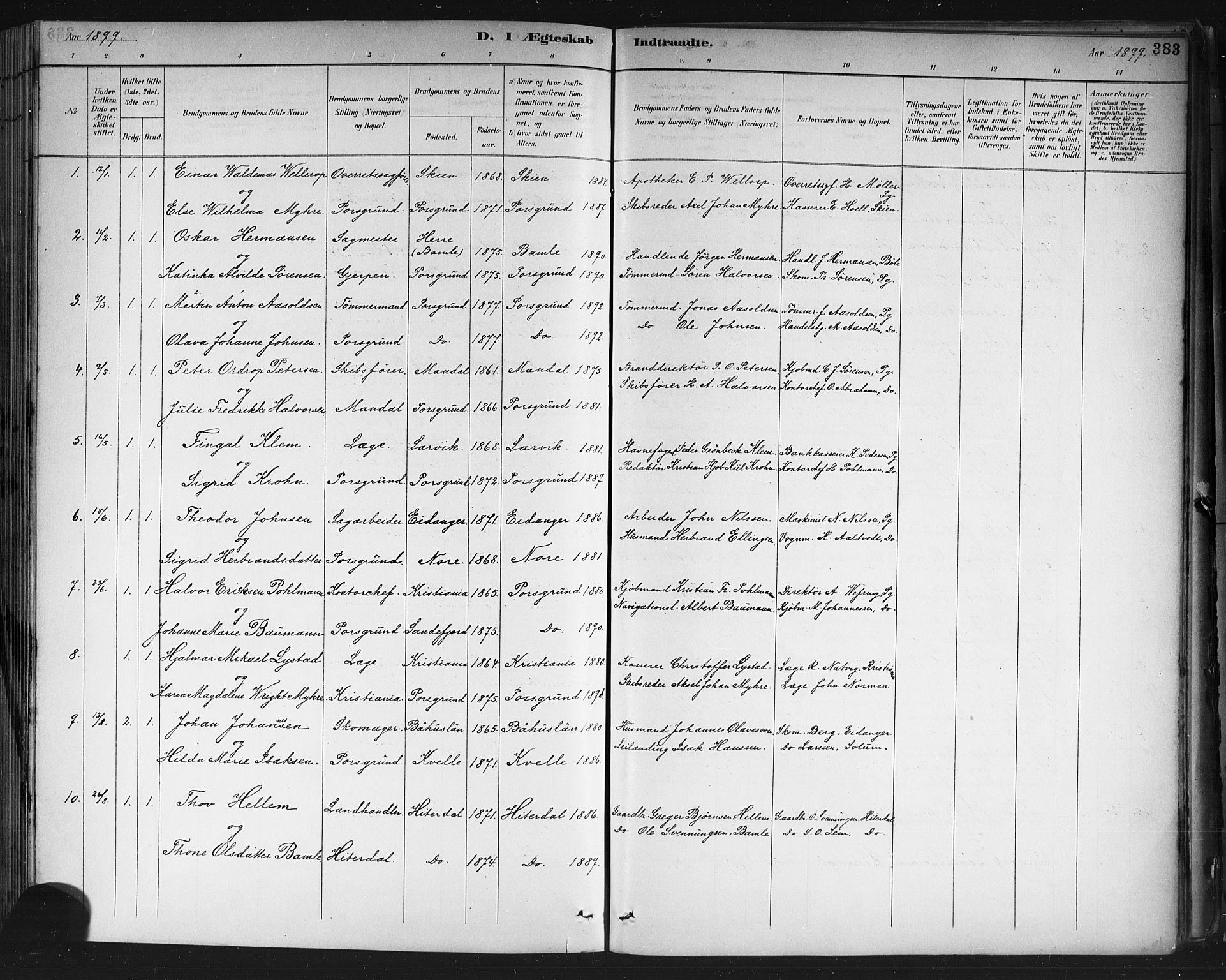 SAKO, Porsgrunn kirkebøker , G/Gb/L0005: Klokkerbok nr. II 5, 1883-1915, s. 383