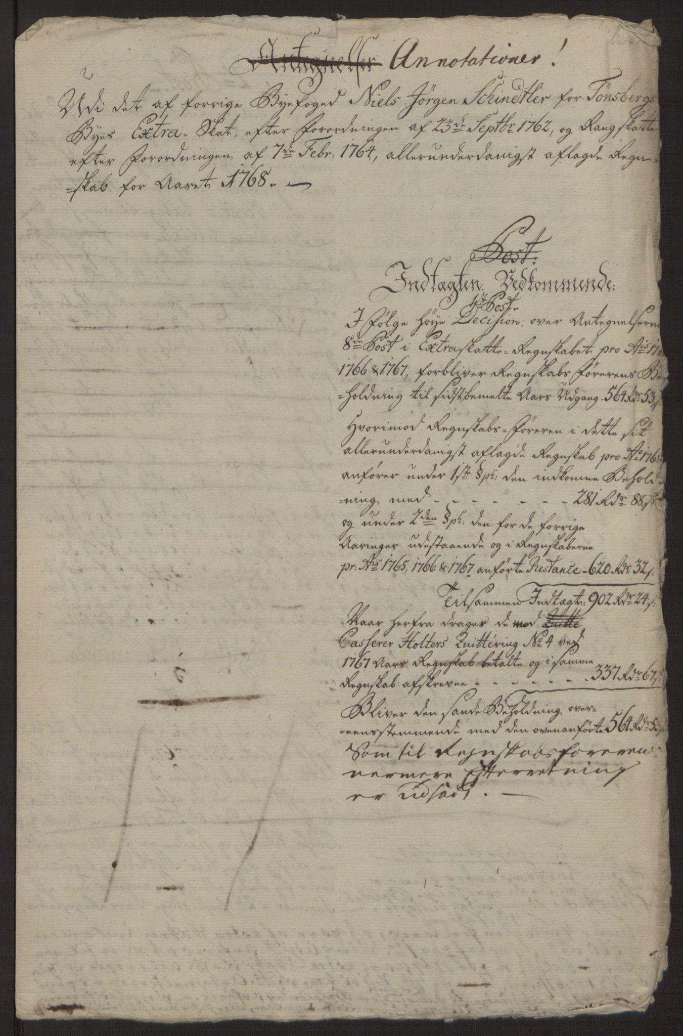 RA, Rentekammeret inntil 1814, Reviderte regnskaper, Byregnskaper, R/Rh/L0162: [H4] Kontribusjonsregnskap, 1762-1772, s. 346