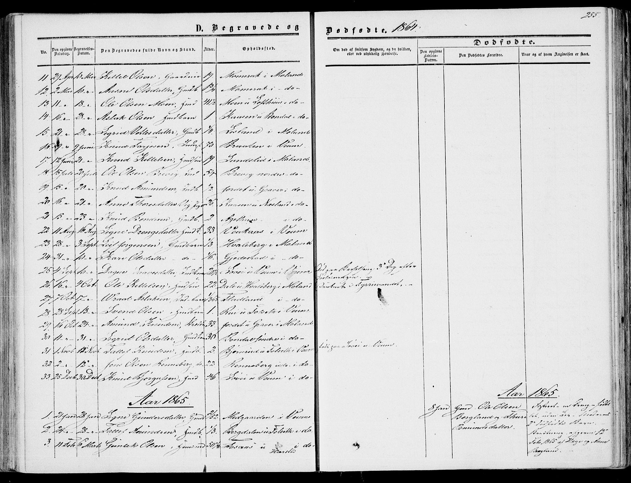 SAKO, Fyresdal kirkebøker, F/Fa/L0005: Ministerialbok nr. I 5, 1855-1871, s. 255