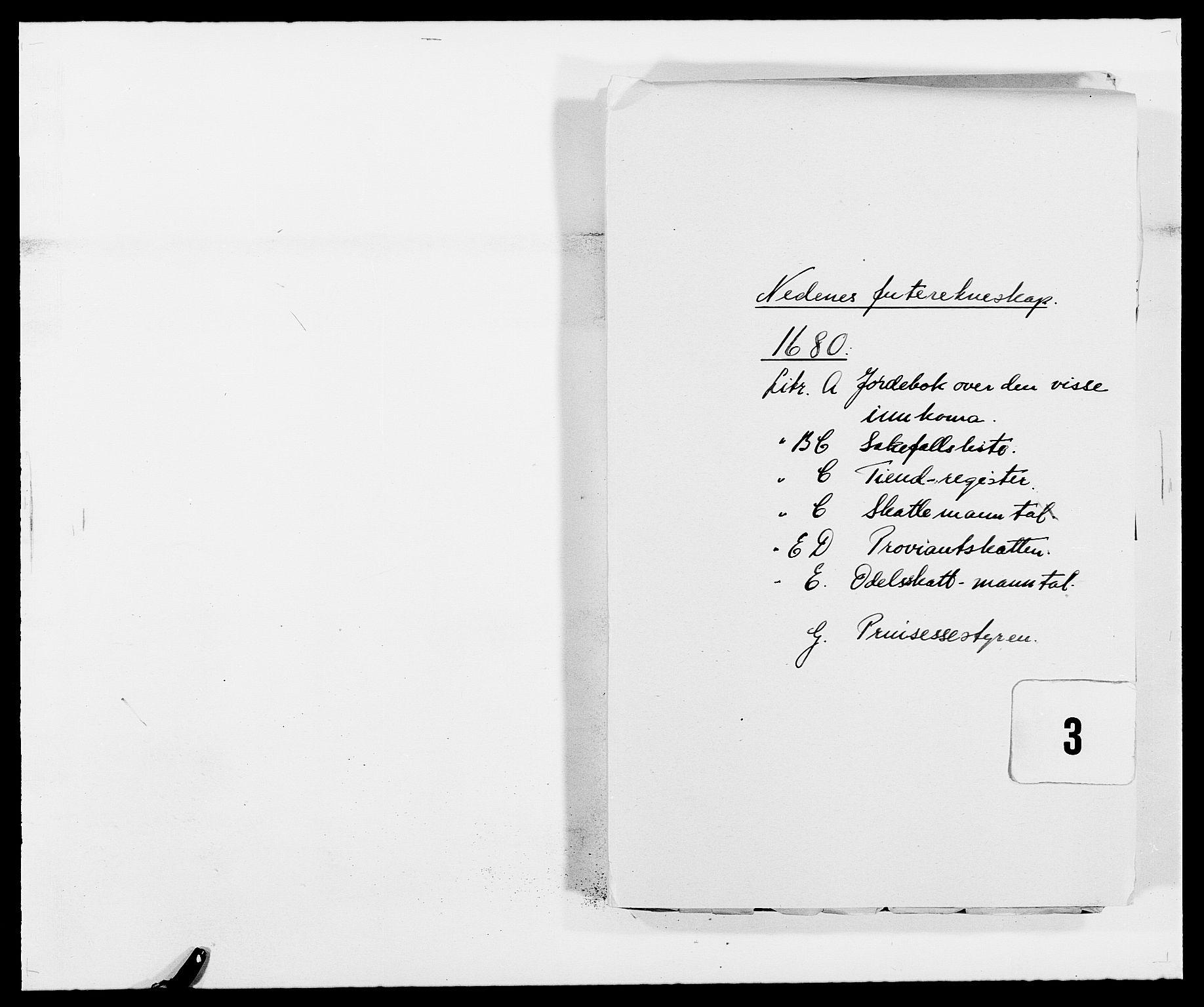 RA, Rentekammeret inntil 1814, Reviderte regnskaper, Fogderegnskap, R39/L2304: Fogderegnskap Nedenes, 1680-1682, s. 1