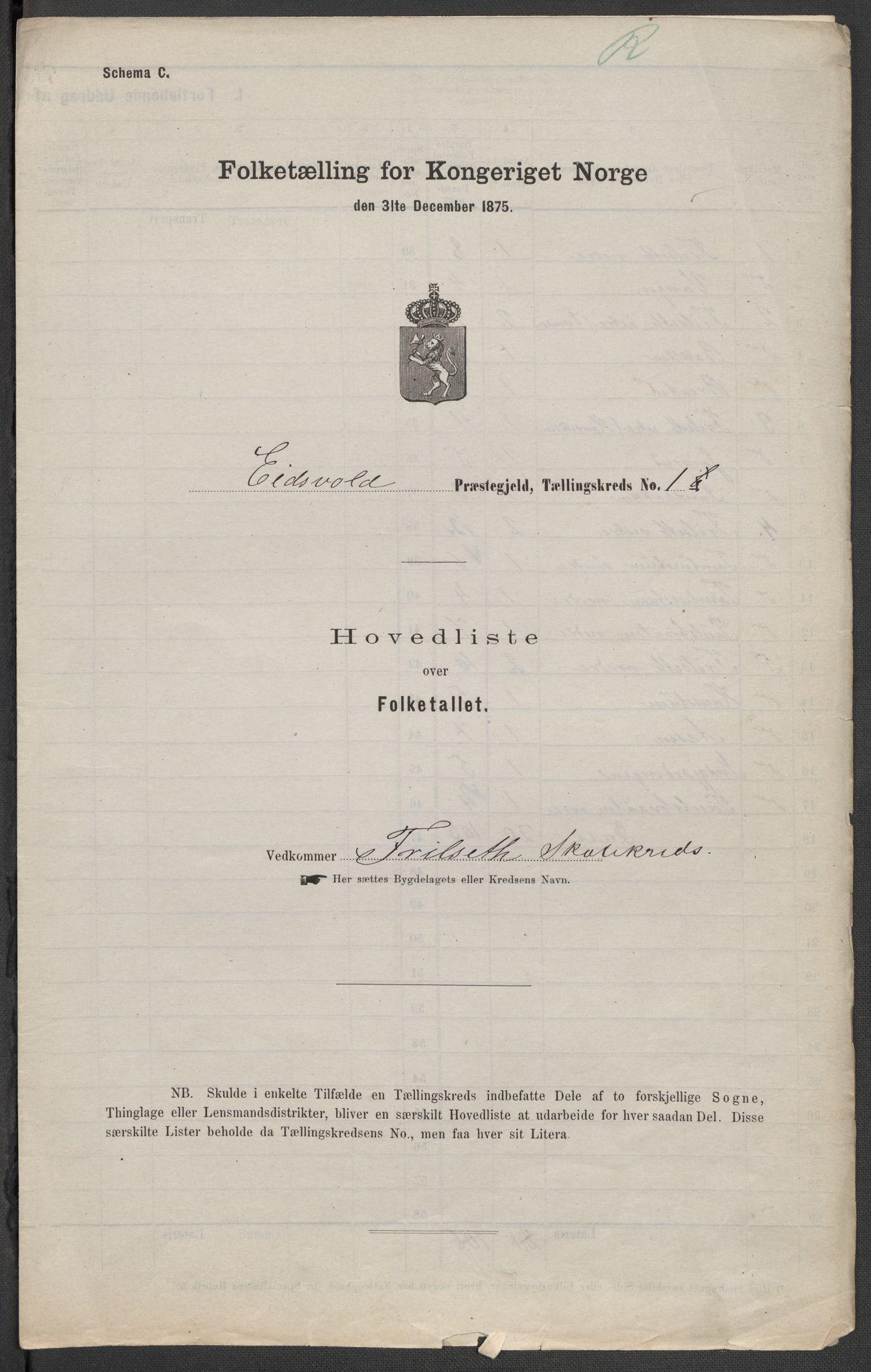 RA, Folketelling 1875 for 0237P Eidsvoll prestegjeld, 1875, s. 1
