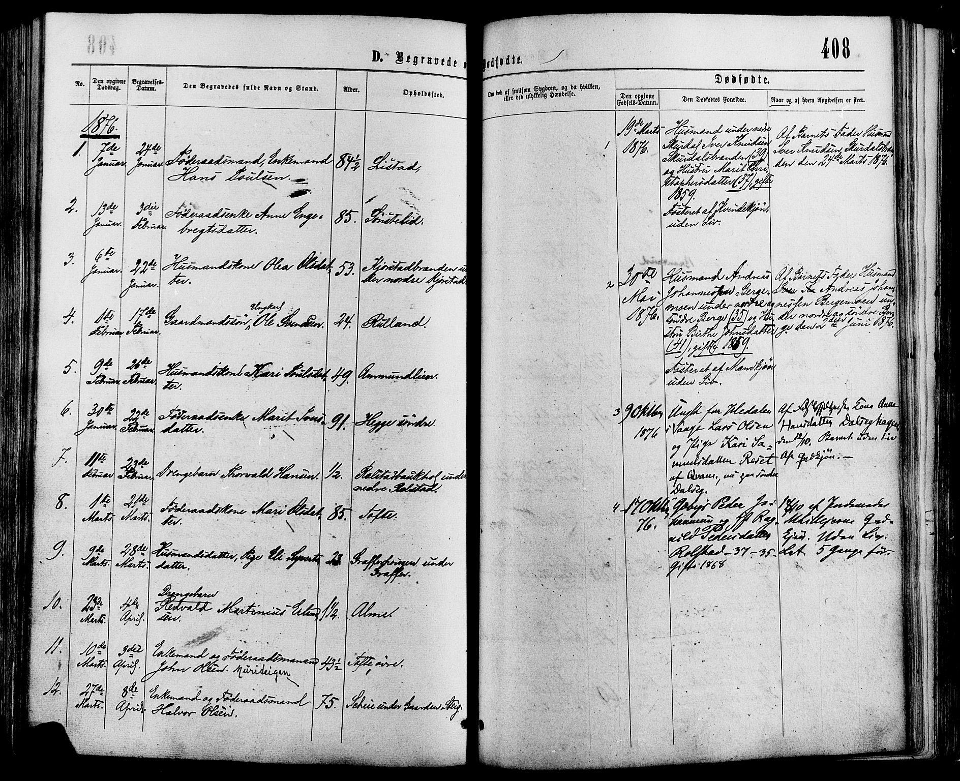 SAH, Sør-Fron prestekontor, H/Ha/Haa/L0002: Ministerialbok nr. 2, 1864-1880, s. 408