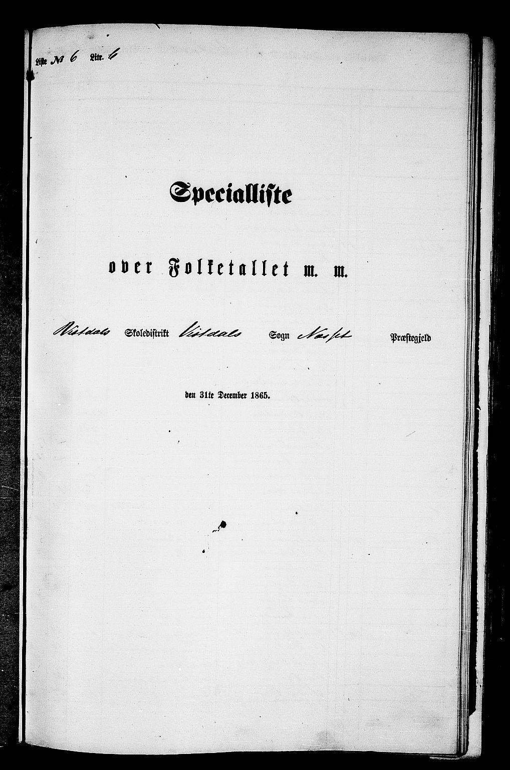 RA, Folketelling 1865 for 1543P Nesset prestegjeld, 1865, s. 134