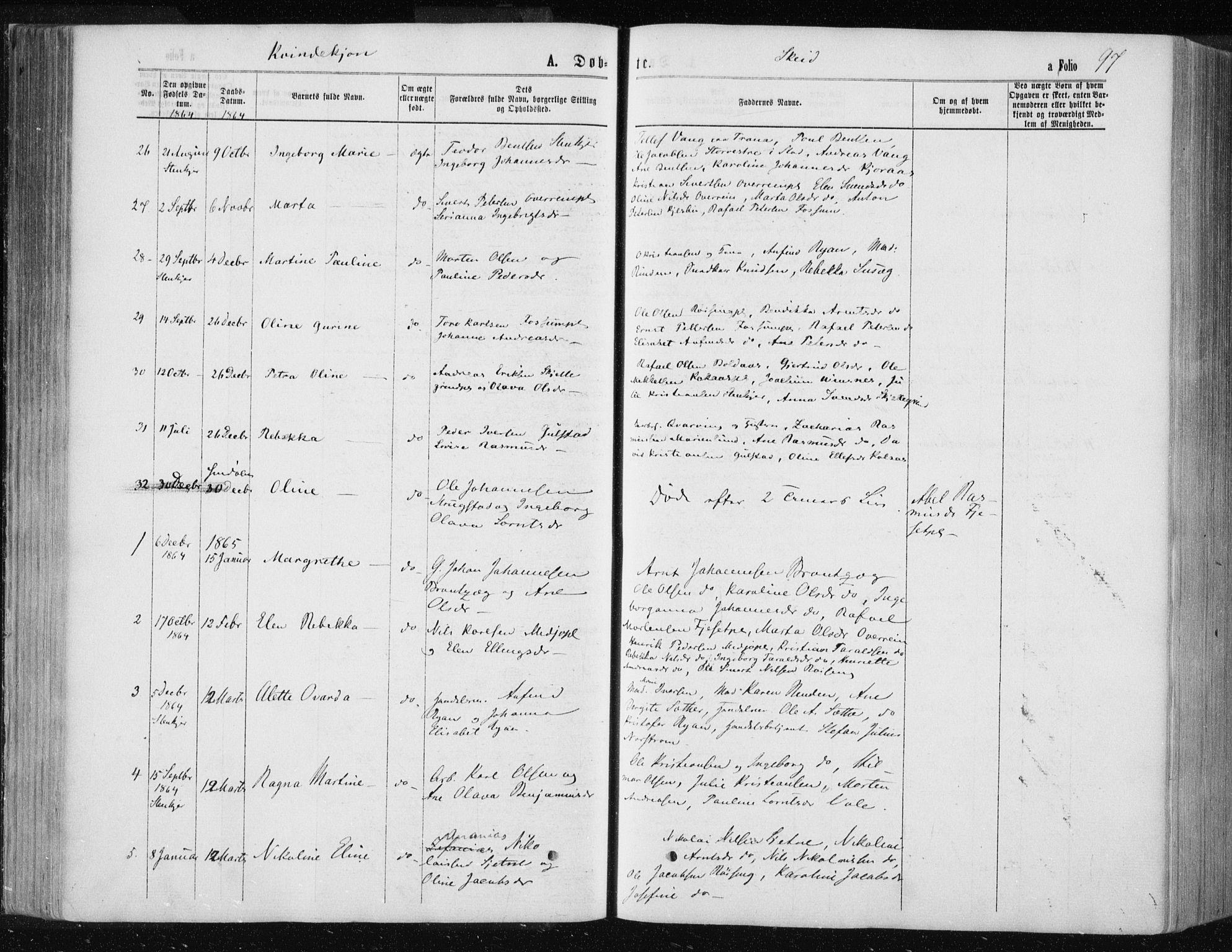 SAT, Ministerialprotokoller, klokkerbøker og fødselsregistre - Nord-Trøndelag, 735/L0345: Ministerialbok nr. 735A08 /2, 1863-1872, s. 97