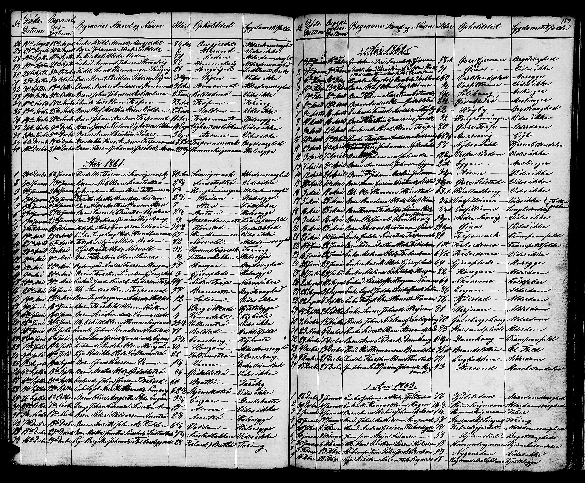 SAT, Ministerialprotokoller, klokkerbøker og fødselsregistre - Sør-Trøndelag, 616/L0422: Klokkerbok nr. 616C05, 1850-1888, s. 157