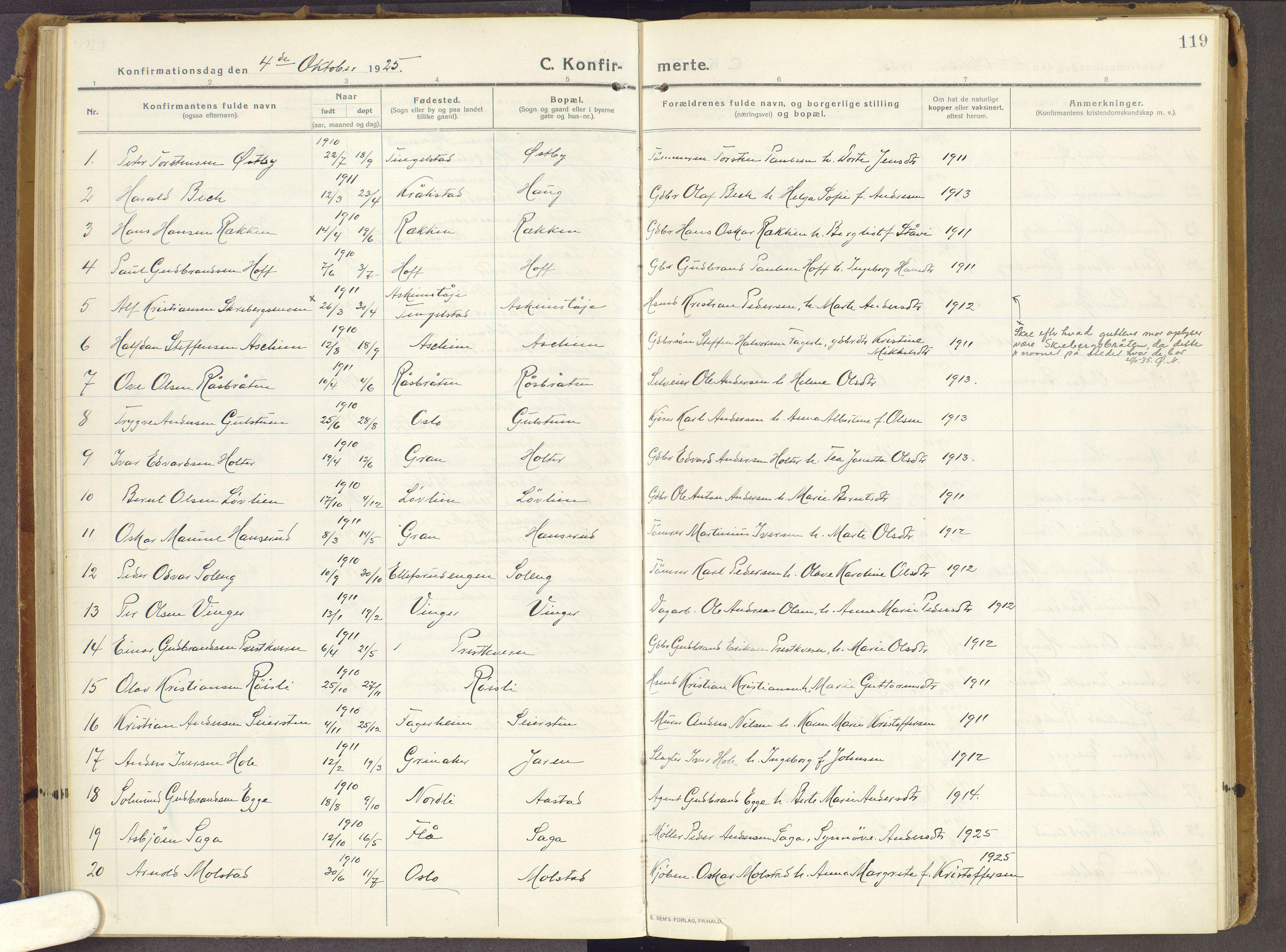 SAH, Brandbu prestekontor, Ministerialbok nr. 3, 1914-1928, s. 119
