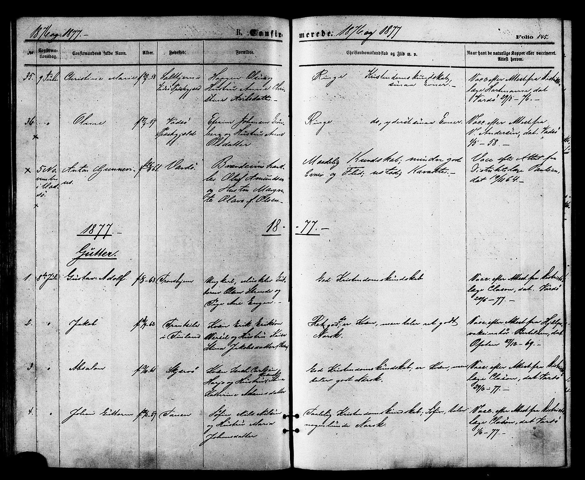SATØ, Vardø sokneprestkontor, H/Ha/L0005kirke: Ministerialbok nr. 5, 1872-1878, s. 145