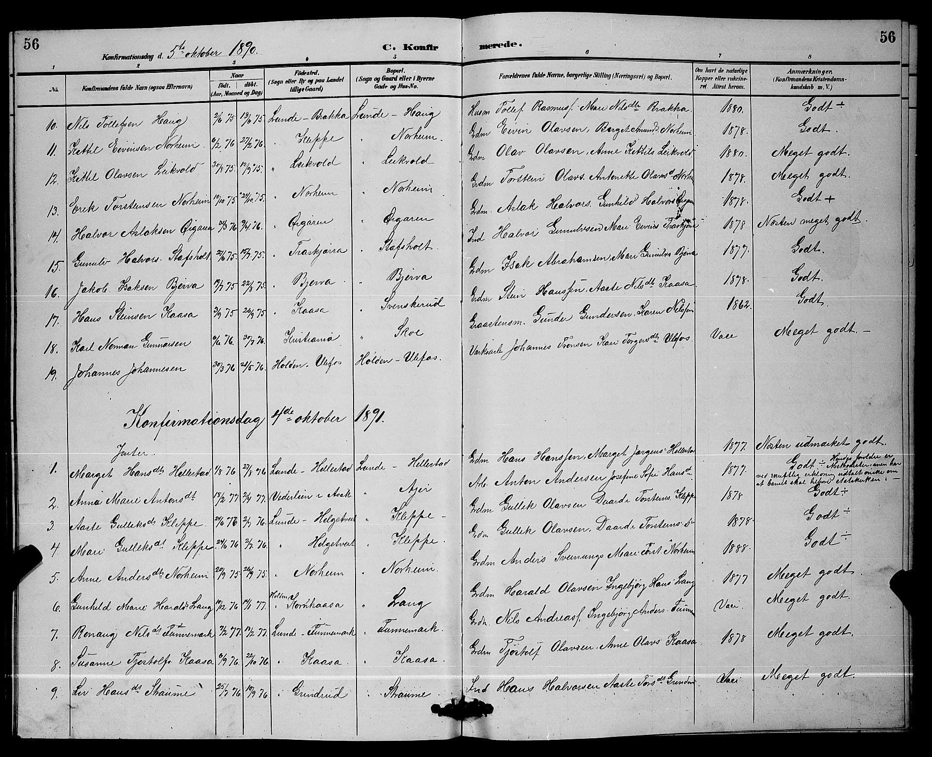 SAKO, Lunde kirkebøker, G/Ga/L0002: Klokkerbok nr. I 2, 1887-1896, s. 56