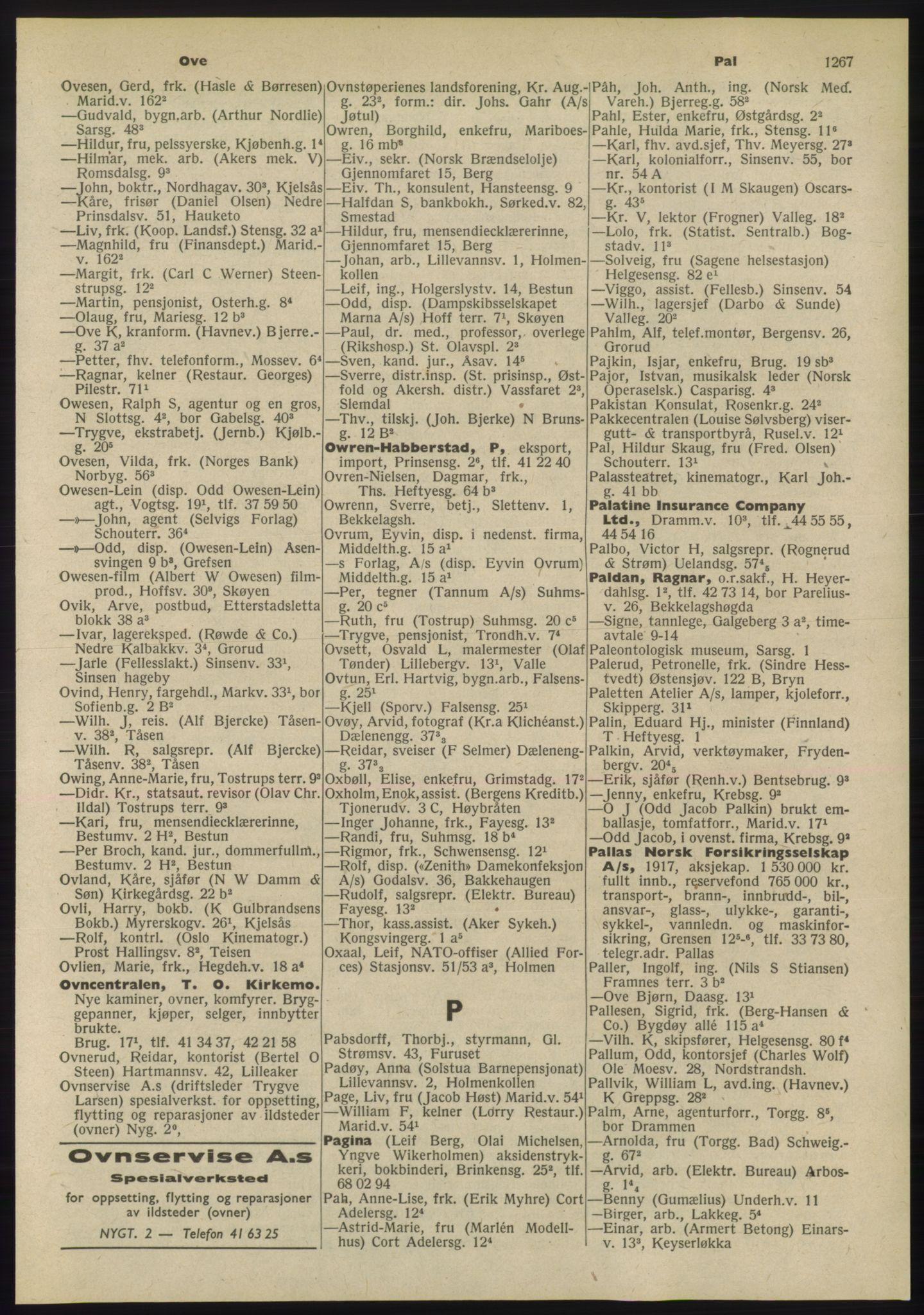RA, Oslo adressebok (publikasjon)*, 1955, s. 1267