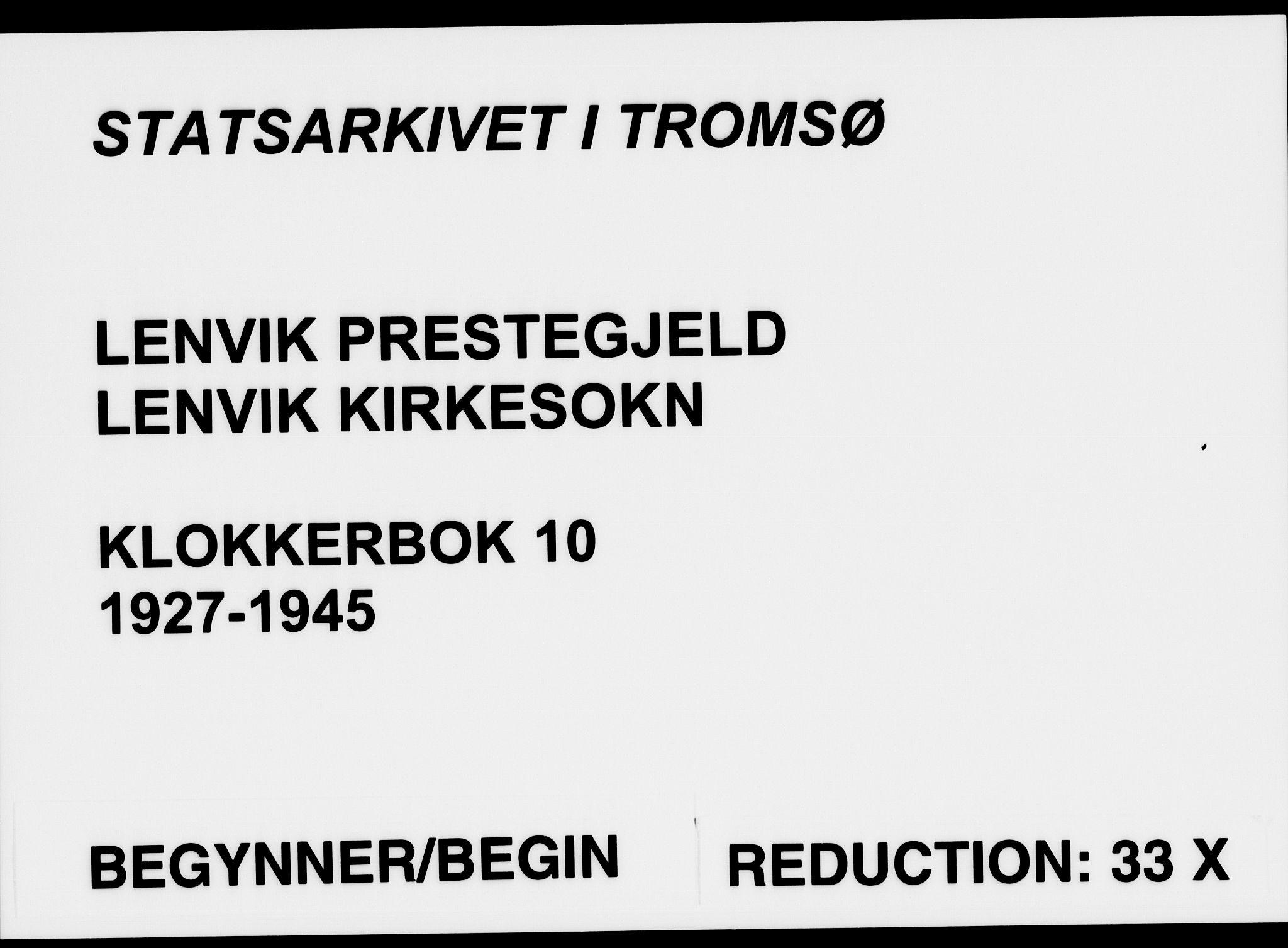 SATØ, Lenvik sokneprestembete, H/Ha: Klokkerbok nr. 10, 1927-1945