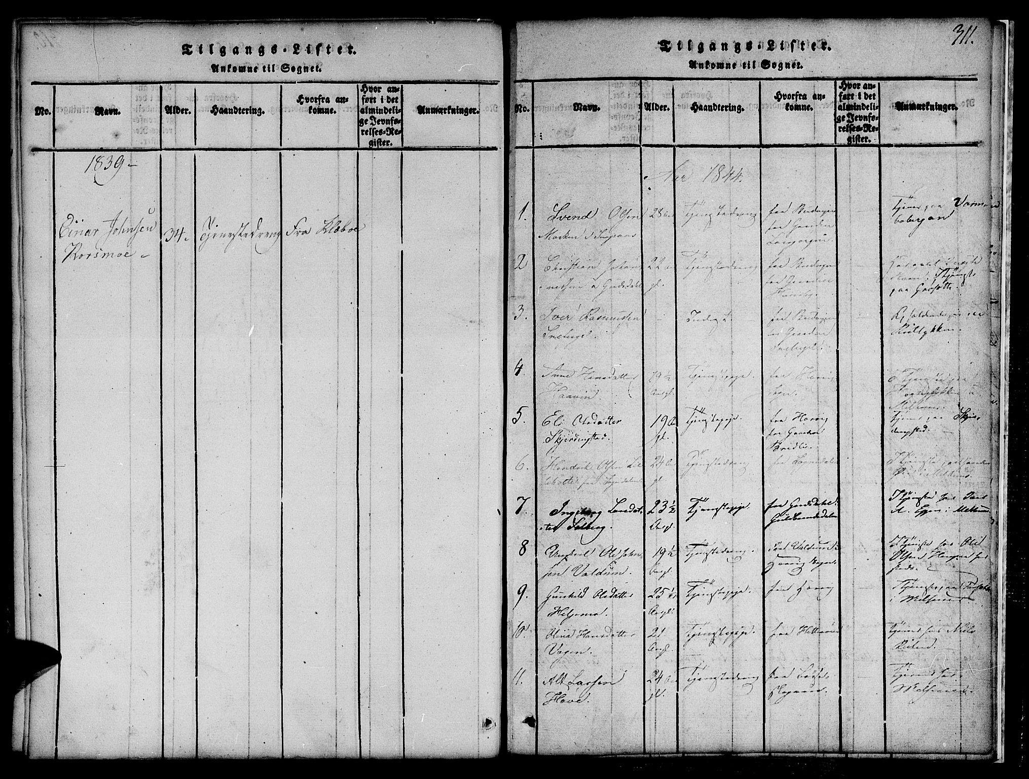 SAT, Ministerialprotokoller, klokkerbøker og fødselsregistre - Sør-Trøndelag, 691/L1092: Klokkerbok nr. 691C03, 1816-1852, s. 311