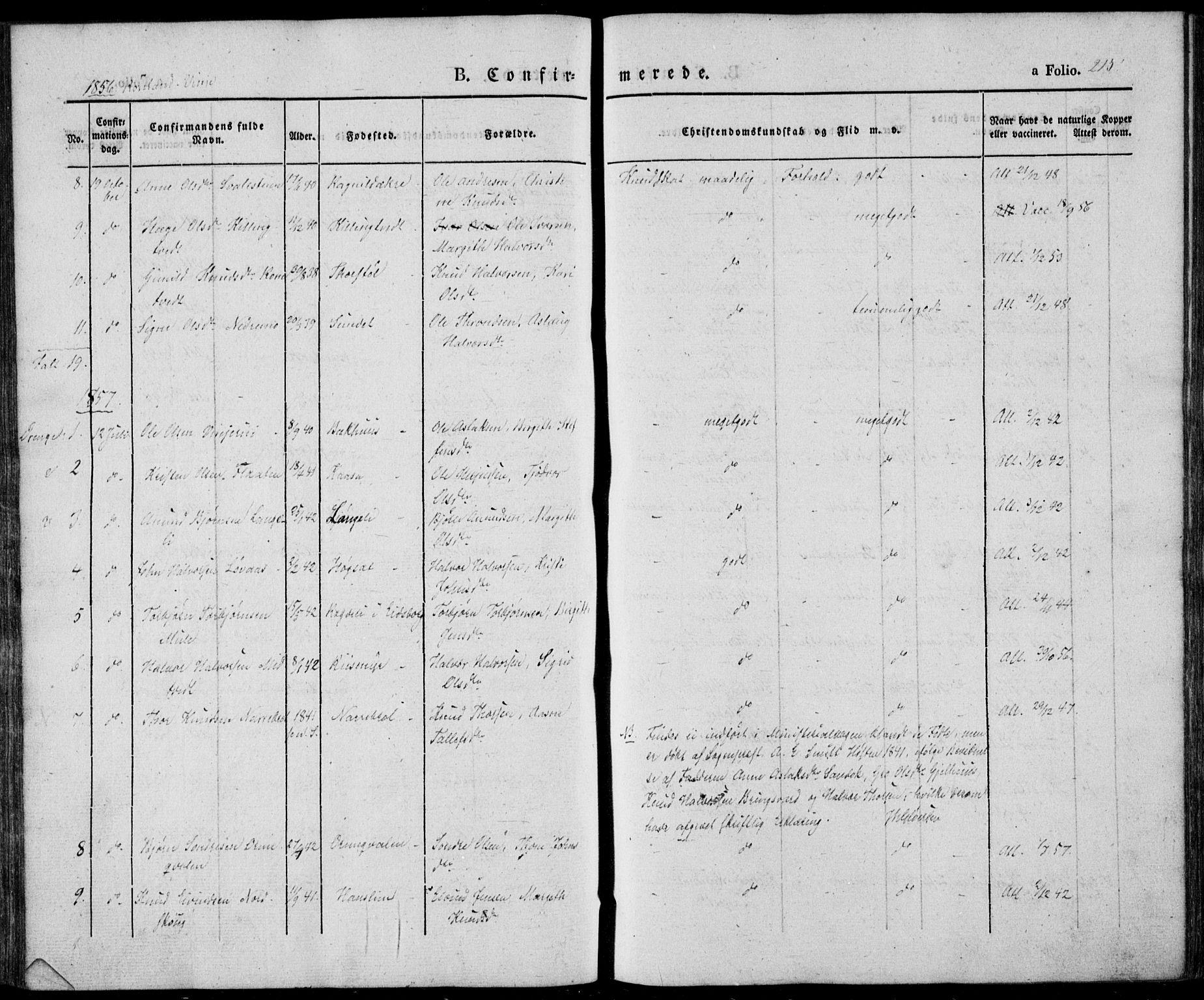 SAKO, Vinje kirkebøker, F/Fa/L0004: Ministerialbok nr. I 4, 1843-1869, s. 215