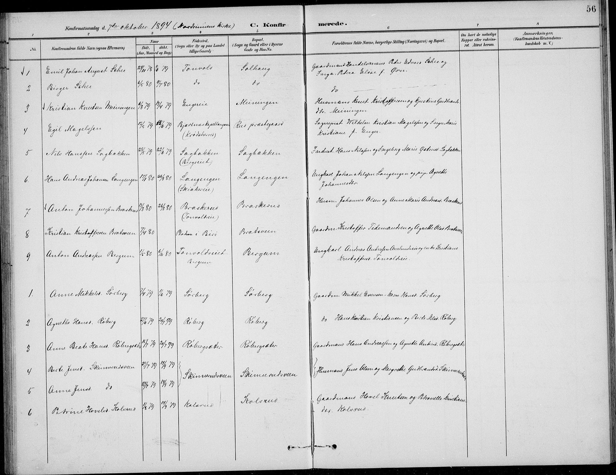 SAH, Nordre Land prestekontor, Klokkerbok nr. 14, 1891-1907, s. 56
