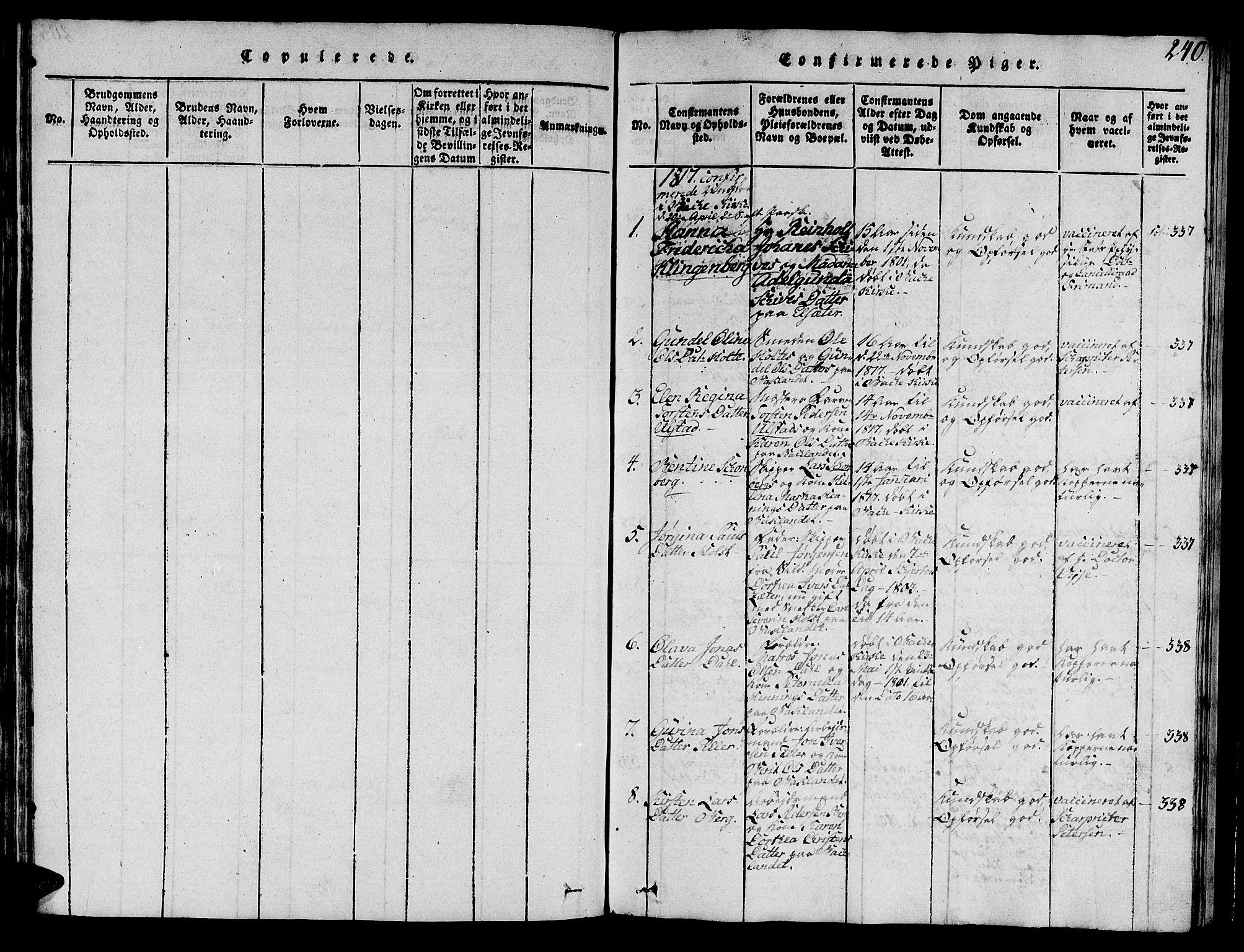 SAT, Ministerialprotokoller, klokkerbøker og fødselsregistre - Sør-Trøndelag, 606/L0307: Klokkerbok nr. 606C03, 1817-1824, s. 240