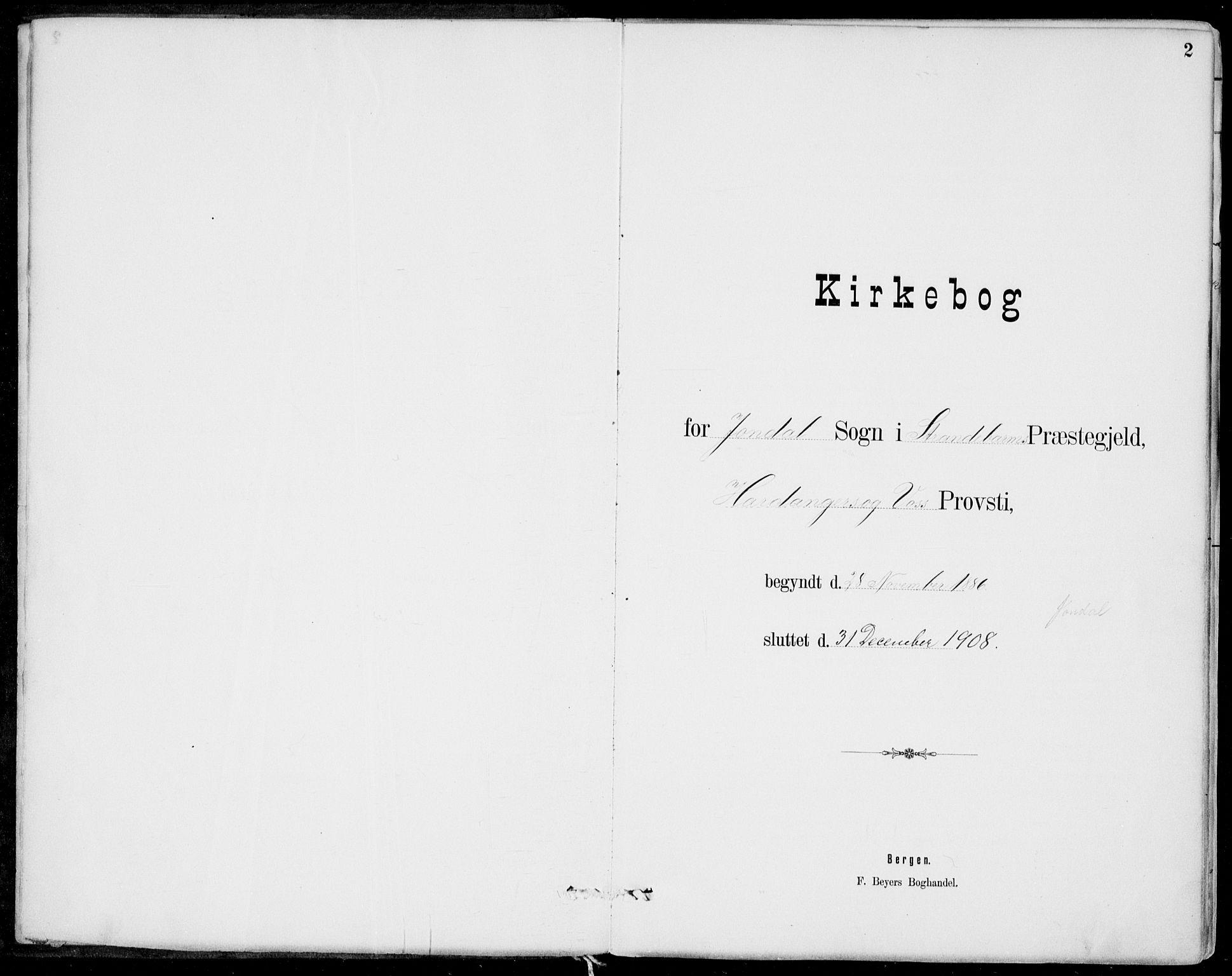 SAB, Strandebarm Sokneprestembete, H/Haa: Ministerialbok nr. E  1, 1886-1908, s. 2