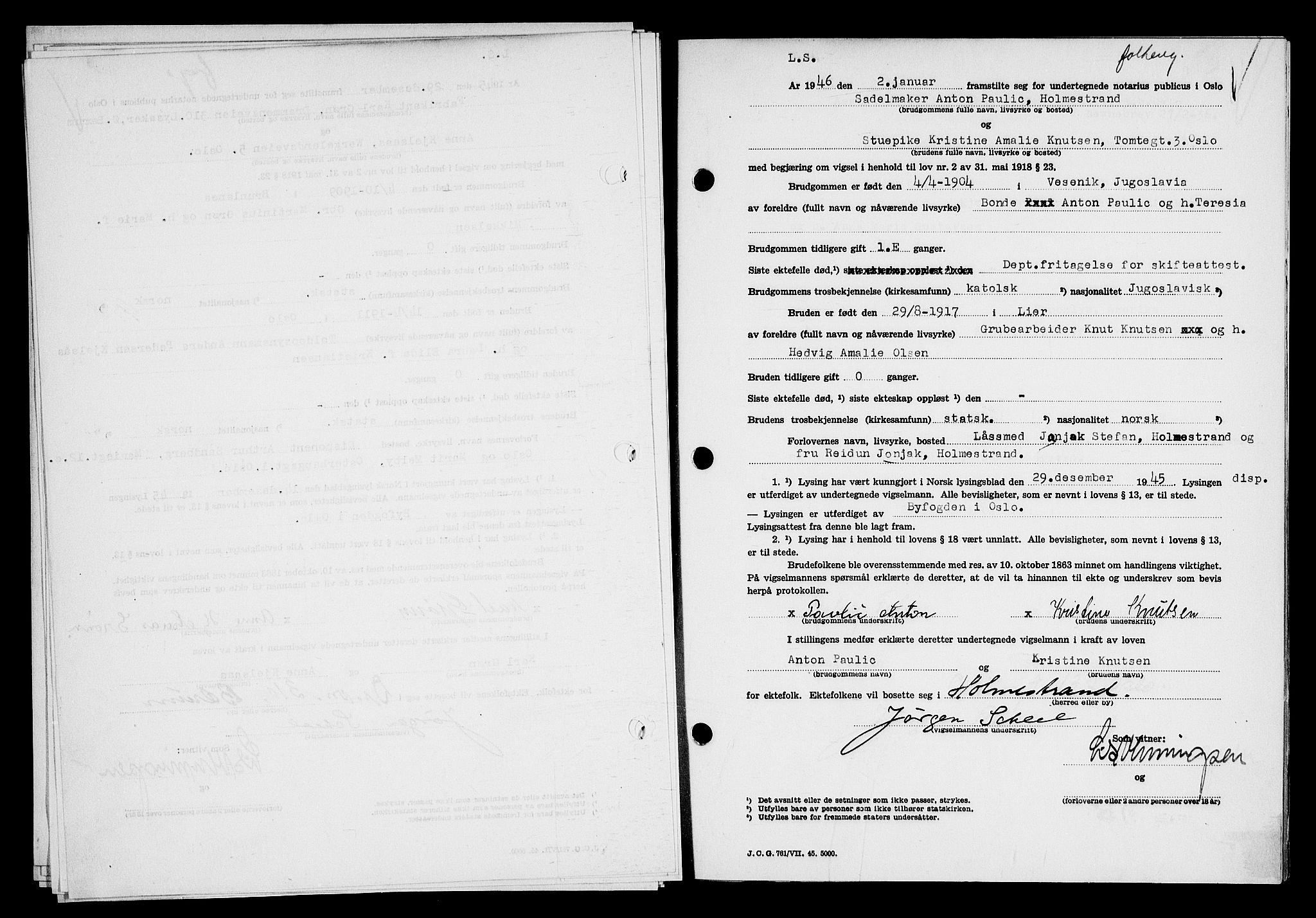 SAO, Oslo byfogd avd. I, L/Lb/Lbb/L0055: Notarialprotokoll, rekke II: Vigsler, 1945-1946, s. upaginert