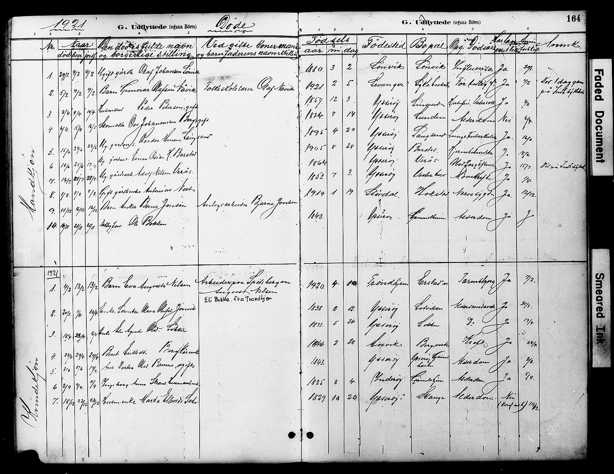 SAT, Ministerialprotokoller, klokkerbøker og fødselsregistre - Nord-Trøndelag, 722/L0226: Klokkerbok nr. 722C02, 1889-1927, s. 164