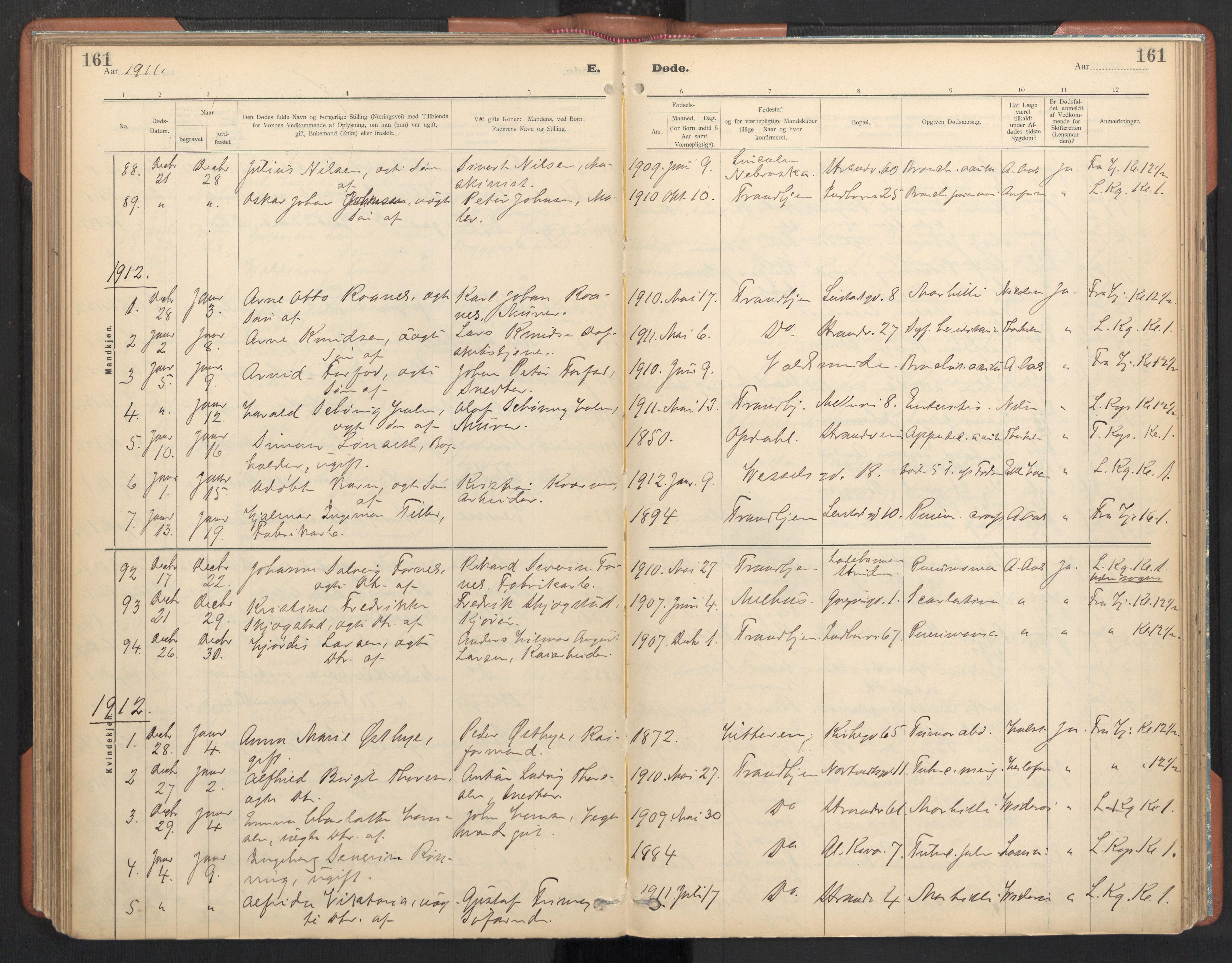 SAT, Ministerialprotokoller, klokkerbøker og fødselsregistre - Sør-Trøndelag, 605/L0244: Ministerialbok nr. 605A06, 1908-1954, s. 161