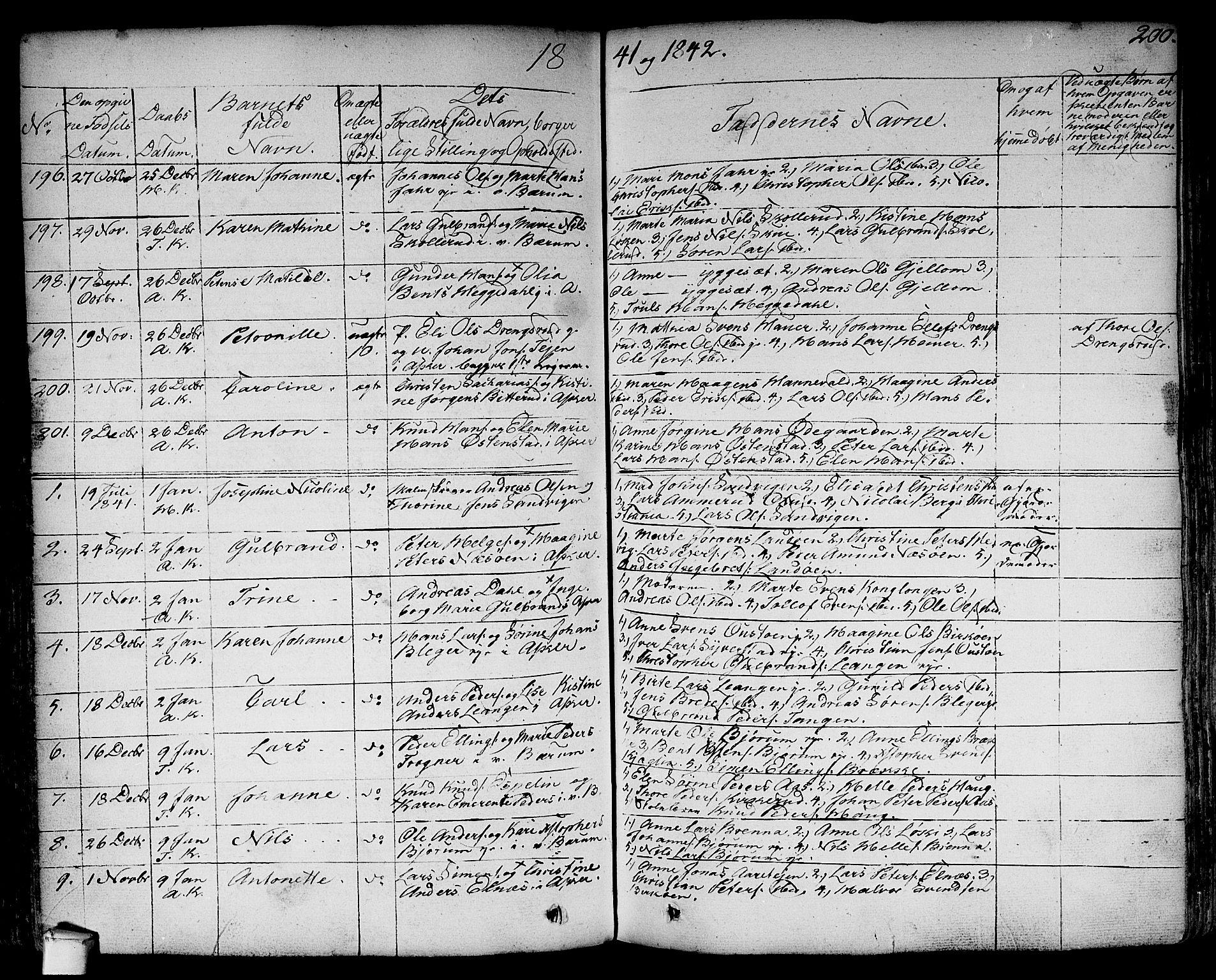 SAO, Asker prestekontor Kirkebøker, F/Fa/L0007: Ministerialbok nr. I 7, 1825-1864, s. 200