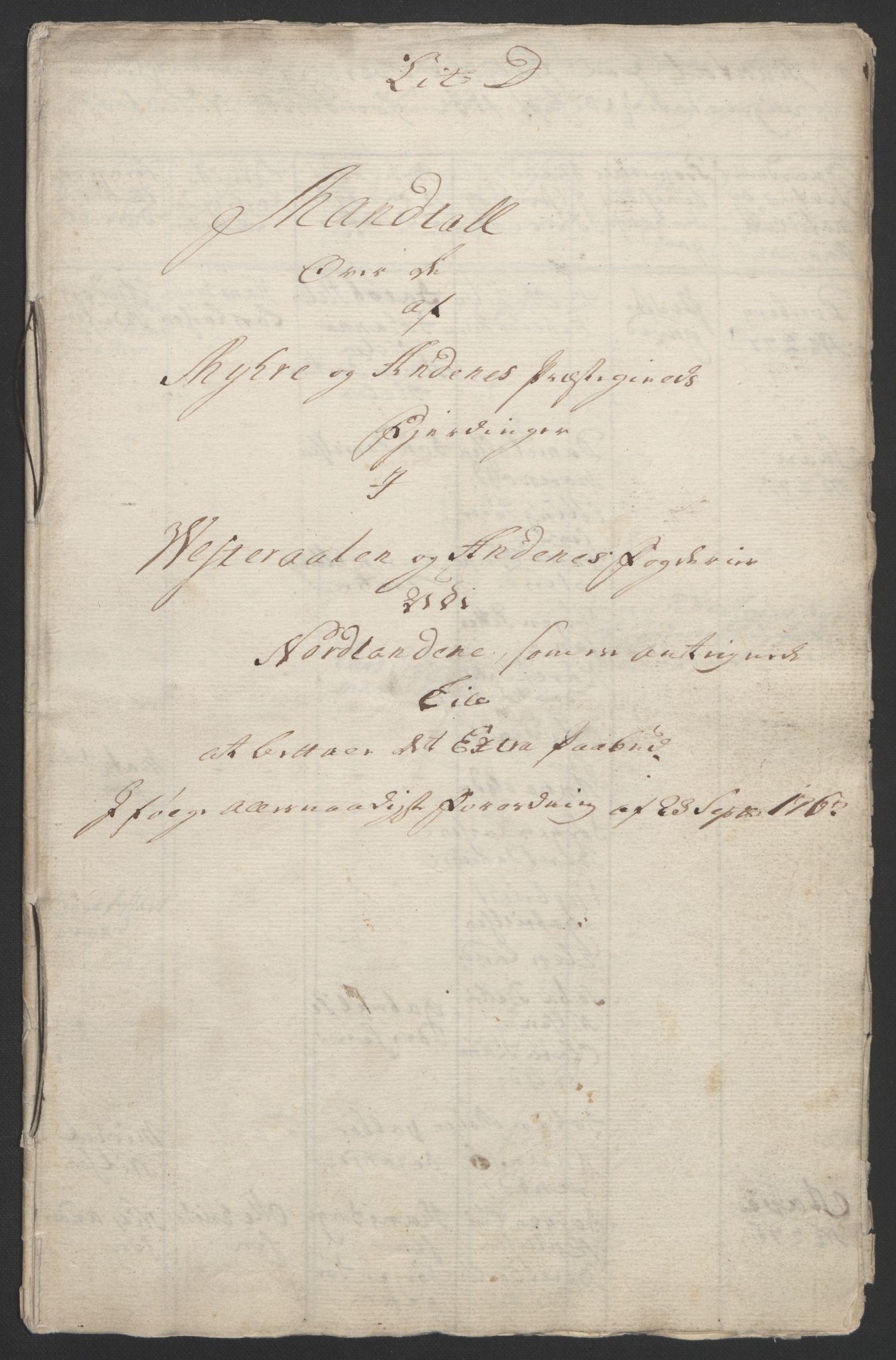 RA, Rentekammeret inntil 1814, Reviderte regnskaper, Fogderegnskap, R67/L4747: Ekstraskatten Vesterålen, Andenes og Lofoten, 1762-1766, s. 87