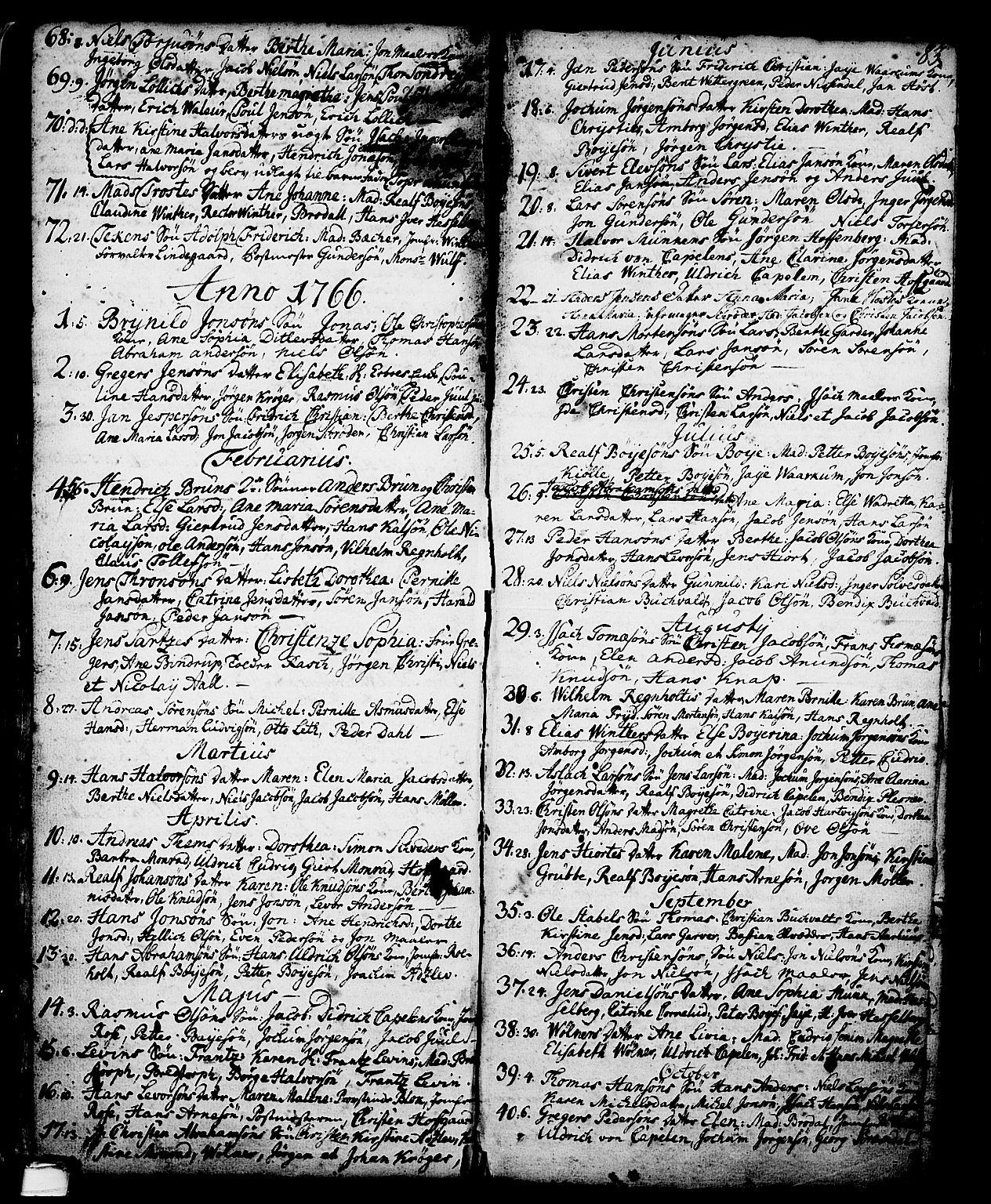 SAKO, Skien kirkebøker, G/Ga/L0001: Klokkerbok nr. 1, 1756-1791, s. 83