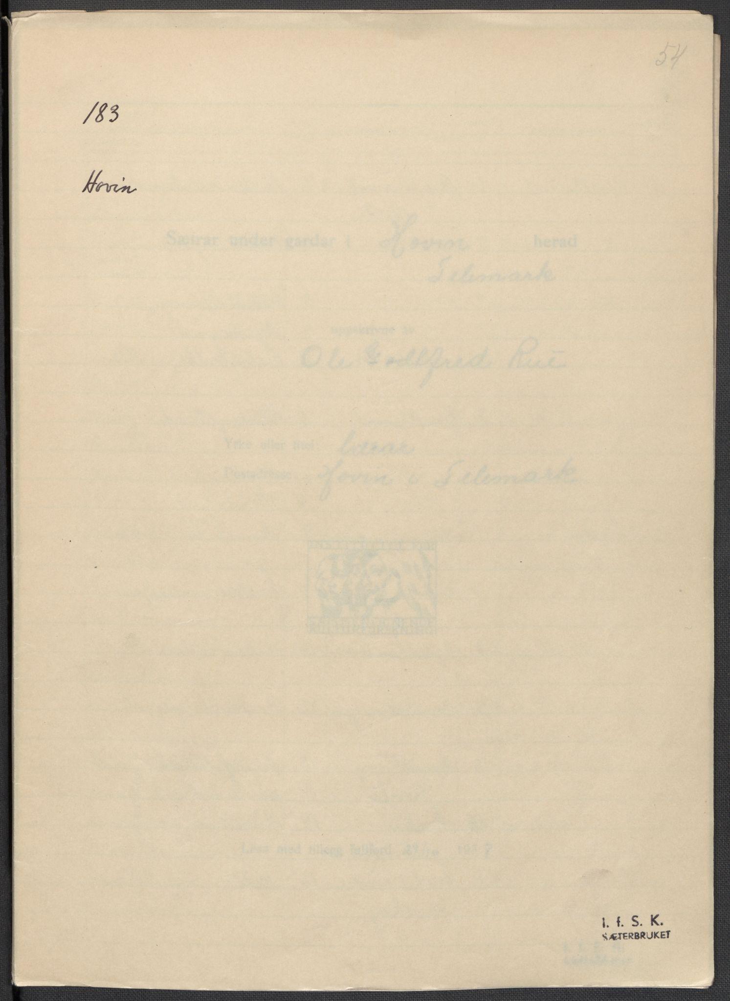 RA, Instituttet for sammenlignende kulturforskning, F/Fc/L0007: Eske B7:, 1934-1937, s. 54