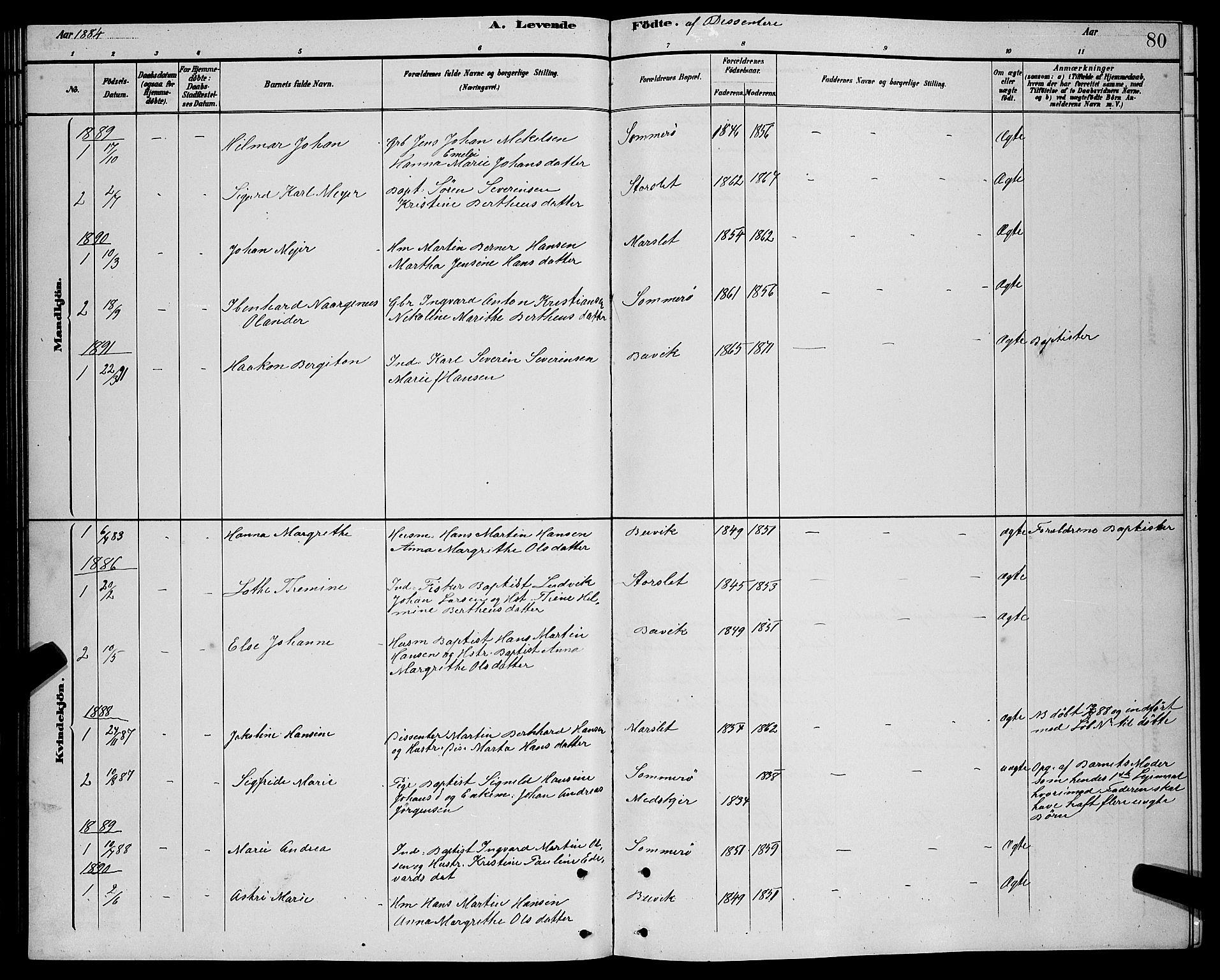 SATØ, Lenvik sokneprestembete, H/Ha: Klokkerbok nr. 21, 1884-1900, s. 80
