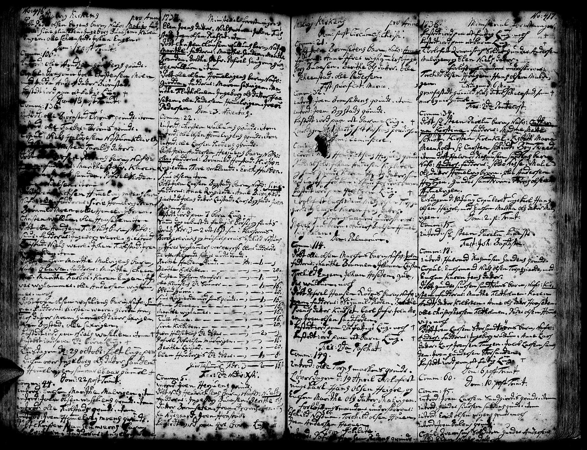 SAT, Ministerialprotokoller, klokkerbøker og fødselsregistre - Sør-Trøndelag, 606/L0277: Ministerialbok nr. 606A01 /3, 1727-1780, s. 416-417