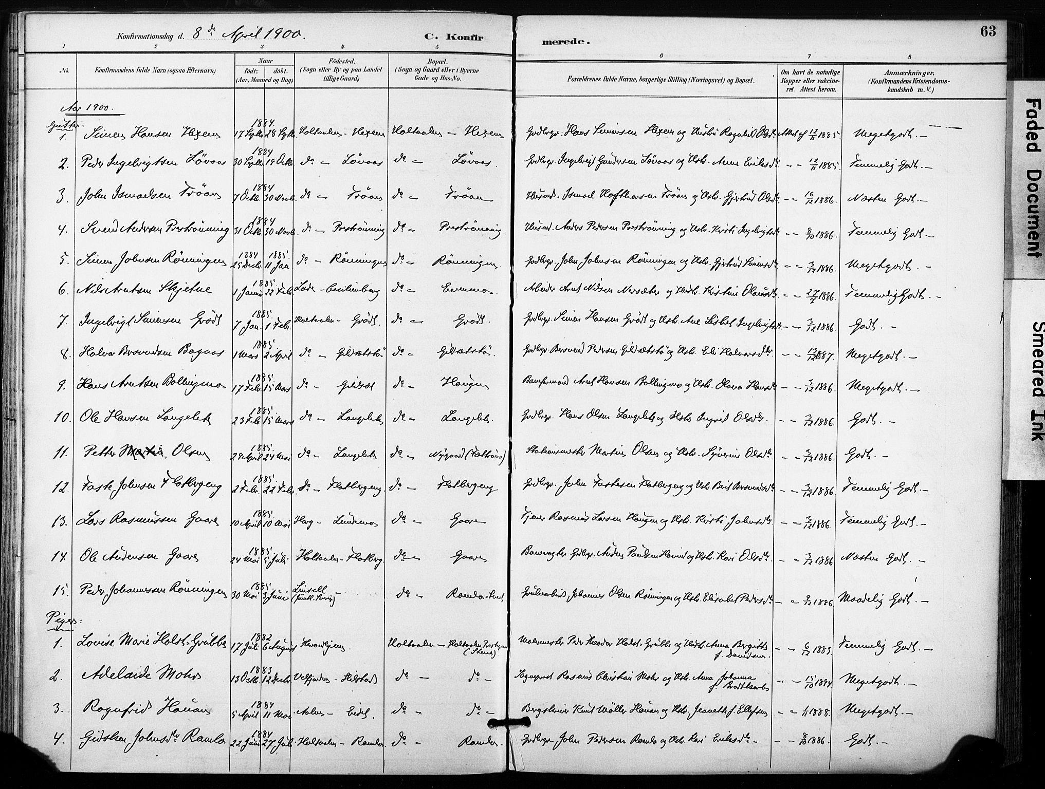 SAT, Ministerialprotokoller, klokkerbøker og fødselsregistre - Sør-Trøndelag, 685/L0973: Ministerialbok nr. 685A10, 1891-1907, s. 63
