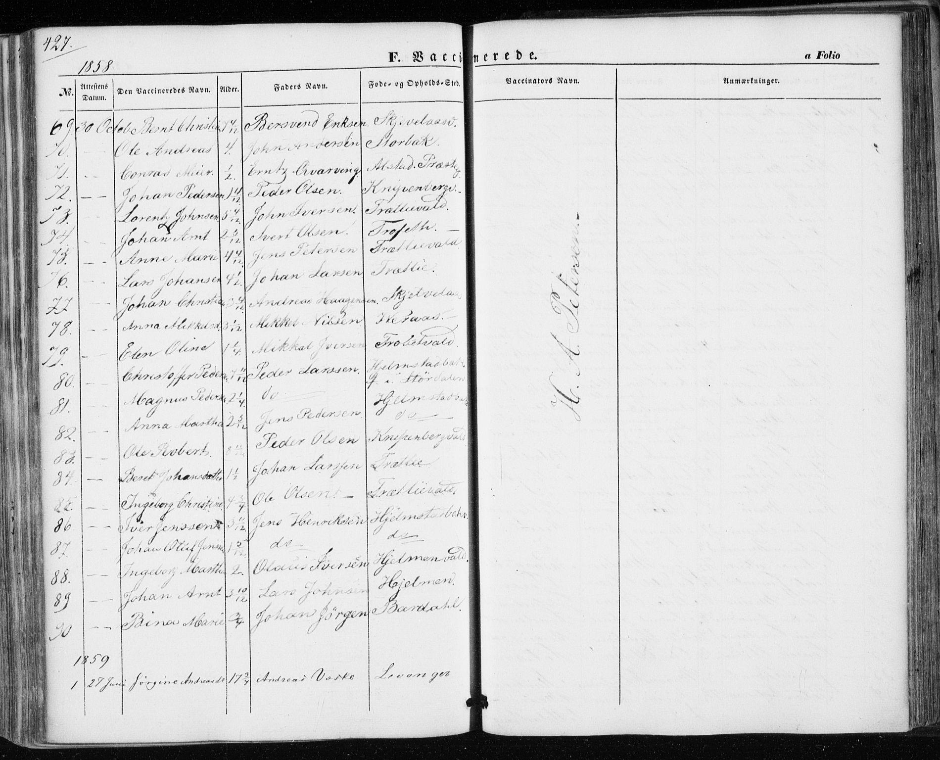 SAT, Ministerialprotokoller, klokkerbøker og fødselsregistre - Nord-Trøndelag, 717/L0154: Ministerialbok nr. 717A07 /1, 1850-1862, s. 427