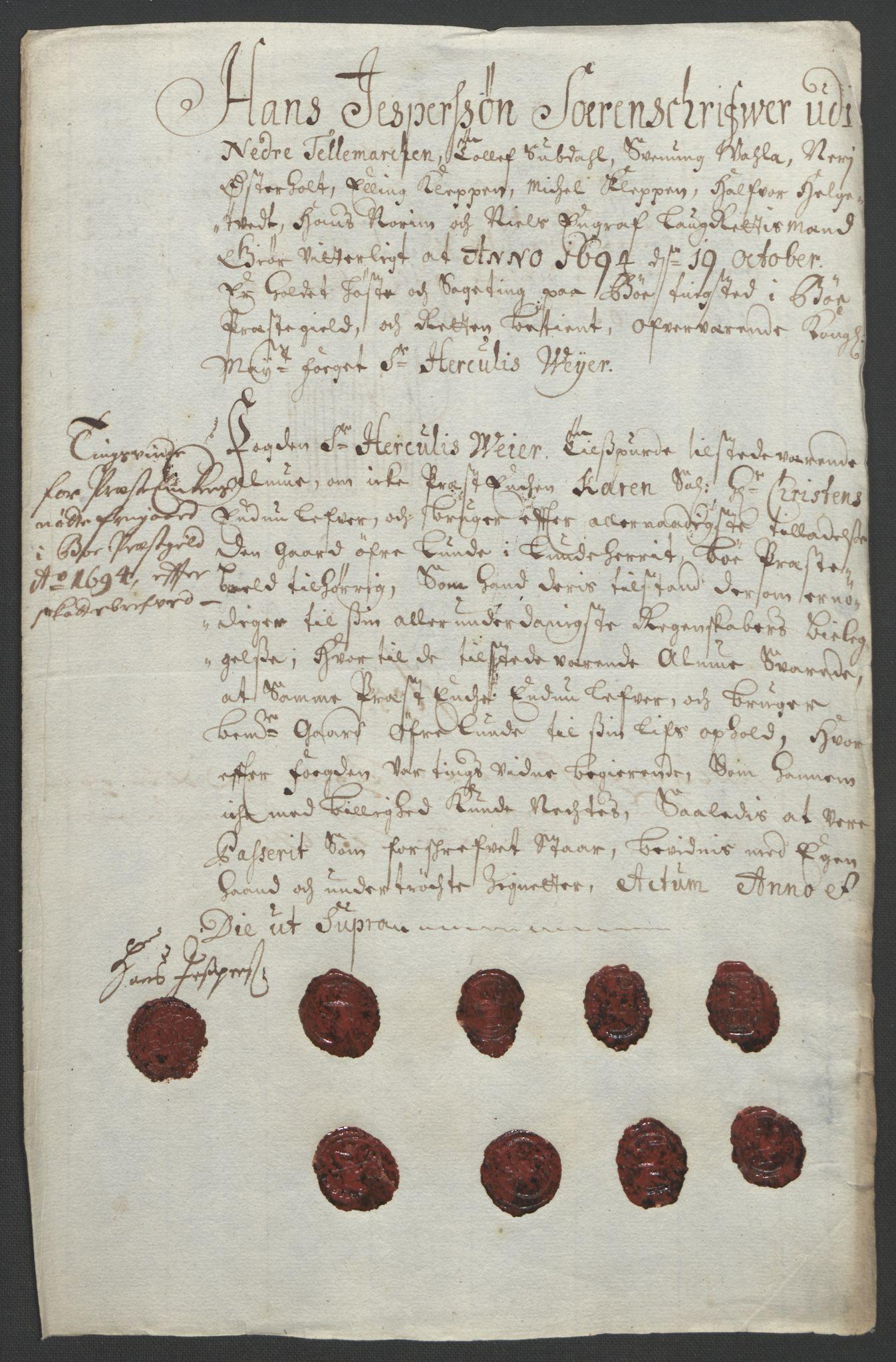RA, Rentekammeret inntil 1814, Reviderte regnskaper, Fogderegnskap, R36/L2092: Fogderegnskap Øvre og Nedre Telemark og Bamble, 1694, s. 97