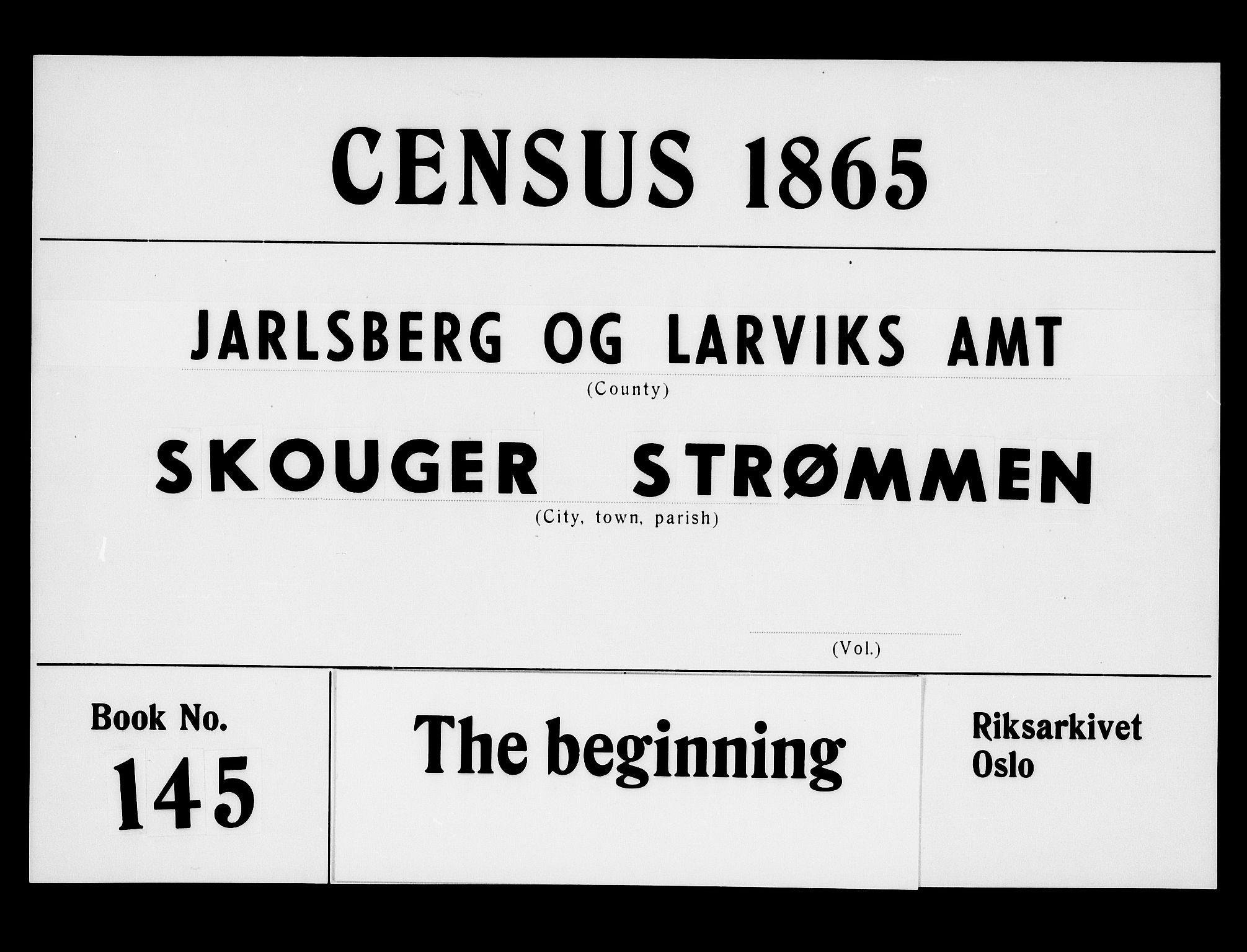 RA, Folketelling 1865 for 0712P Skoger prestegjeld, 1865, s. 1