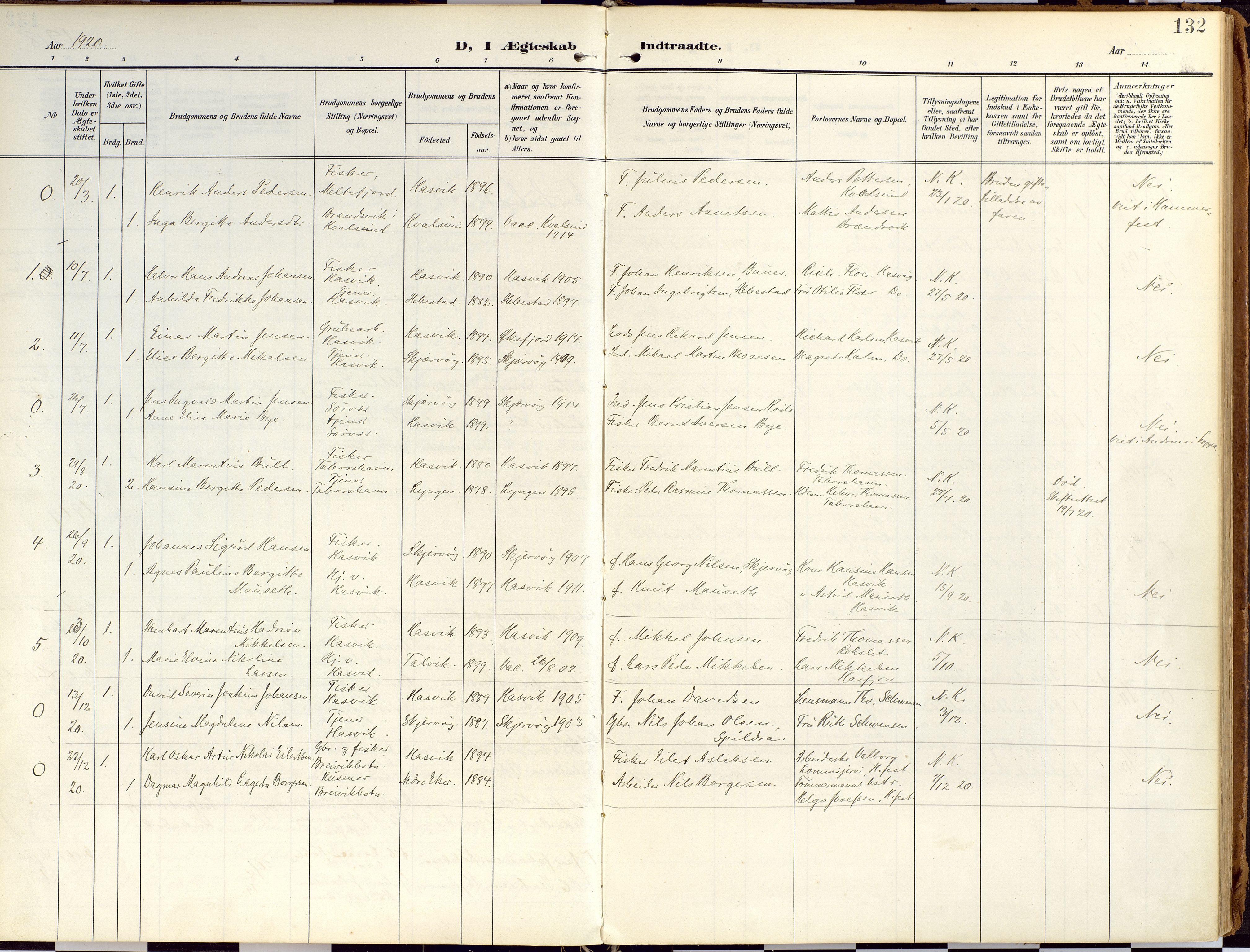 SATØ, Loppa sokneprestkontor, H/Ha/L0010kirke: Ministerialbok nr. 10, 1907-1922, s. 132