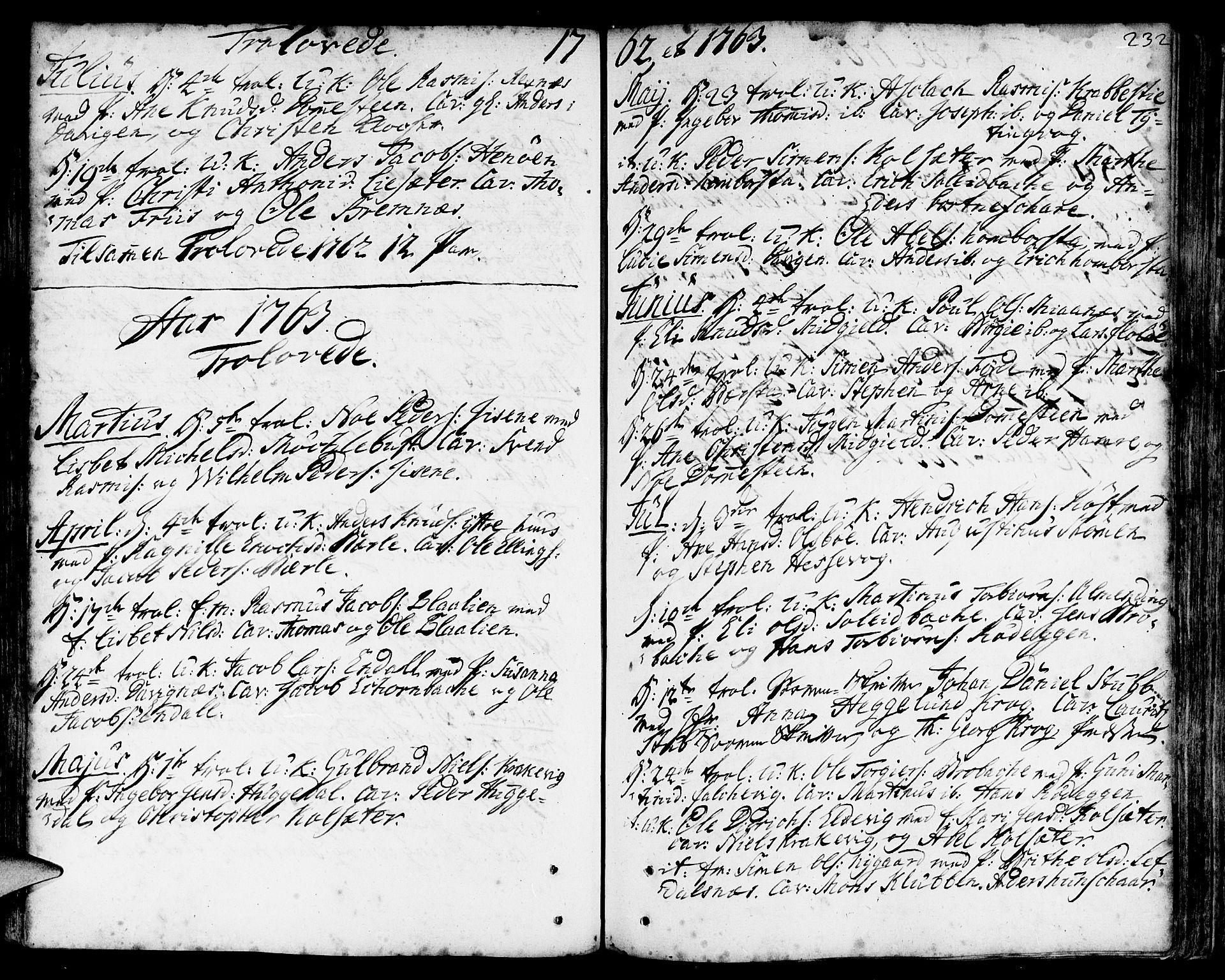 SAB, Davik Sokneprestembete, Ministerialbok nr. A 2, 1742-1816, s. 232