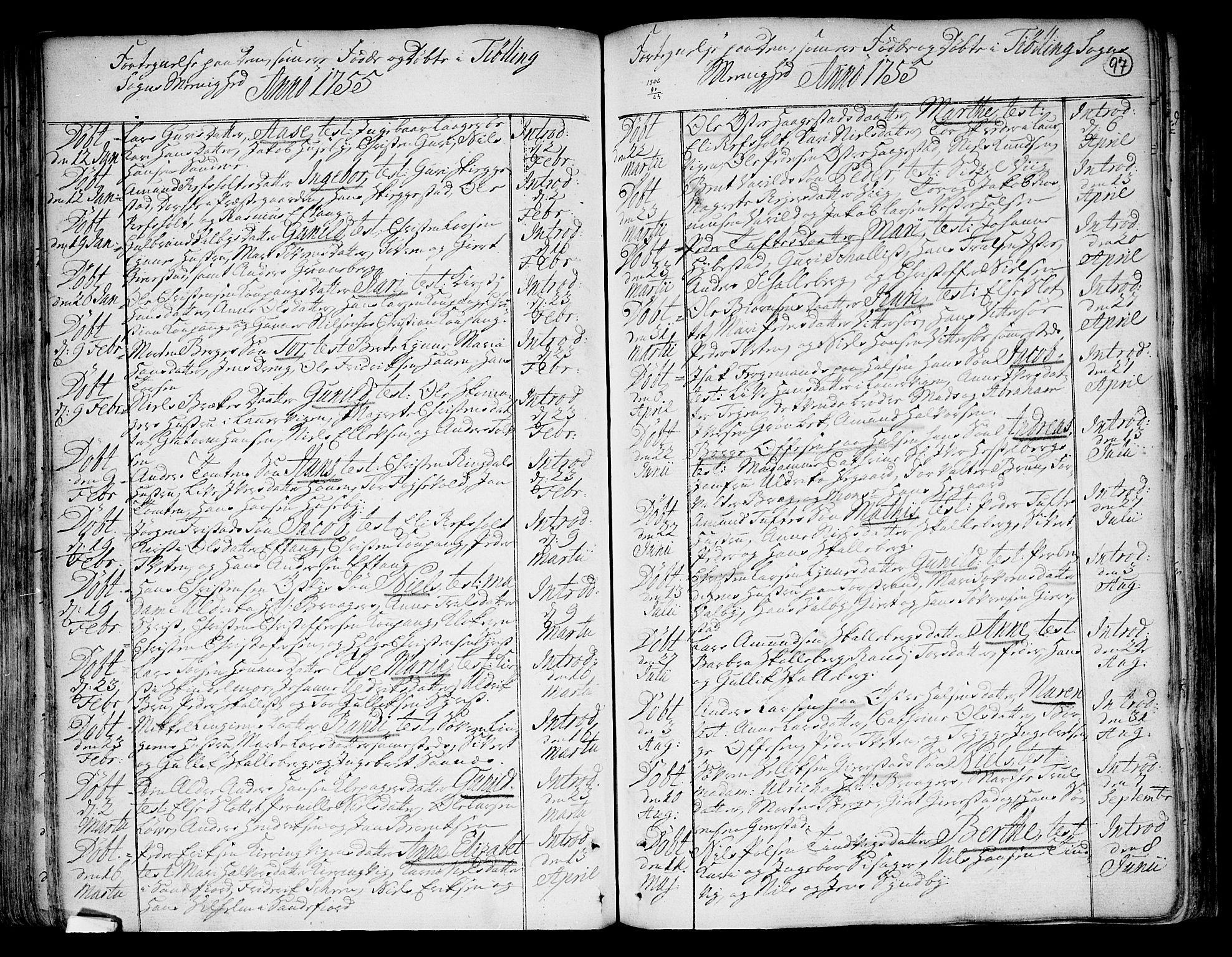 SAKO, Tjølling kirkebøker, F/Fa/L0003: Ministerialbok nr. 3, 1735-1778, s. 97