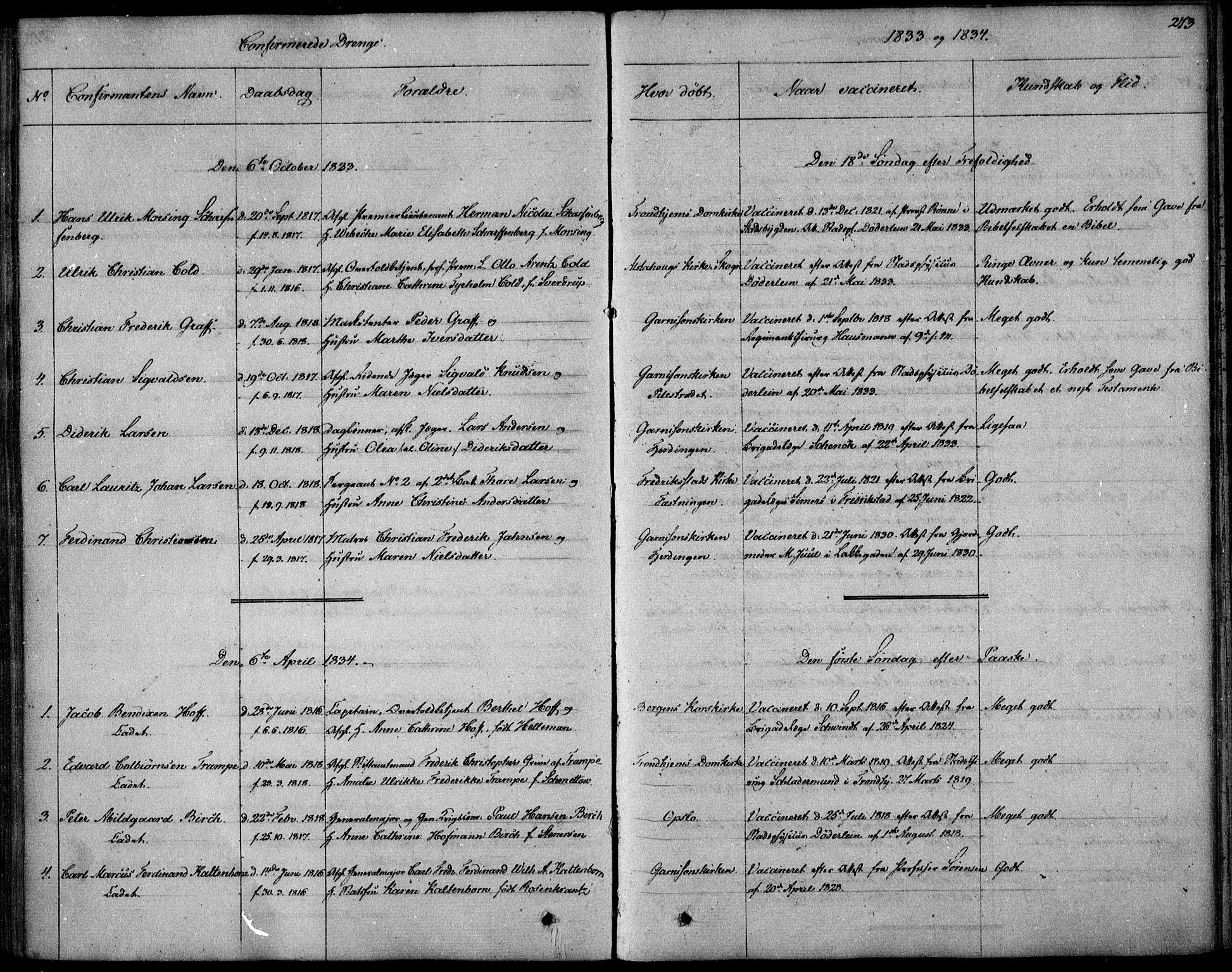 SAO, Garnisonsmenigheten Kirkebøker, F/Fa/L0006: Ministerialbok nr. 6, 1828-1841, s. 273
