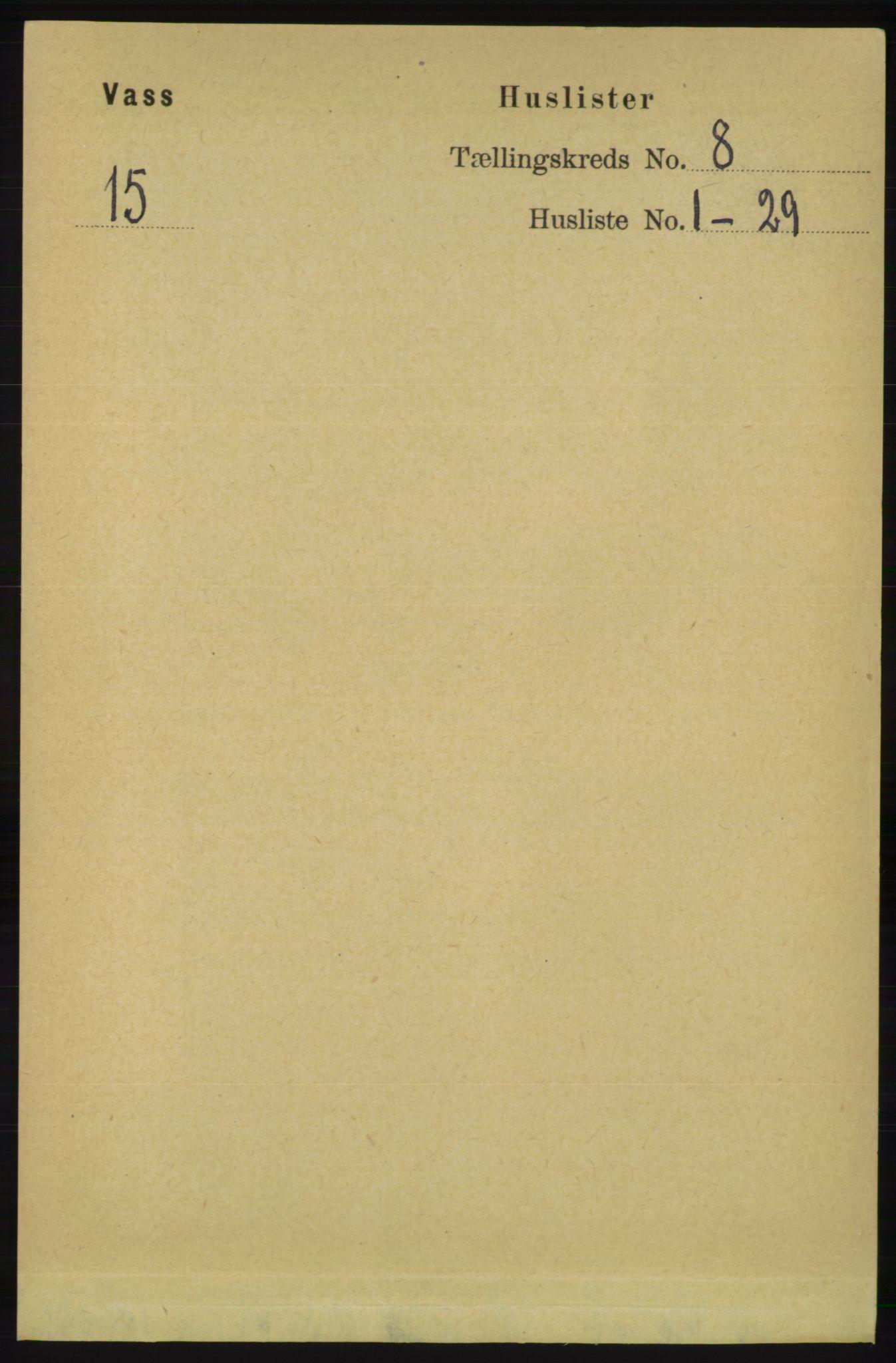RA, Folketelling 1891 for 1155 Vats herred, 1891, s. 1300