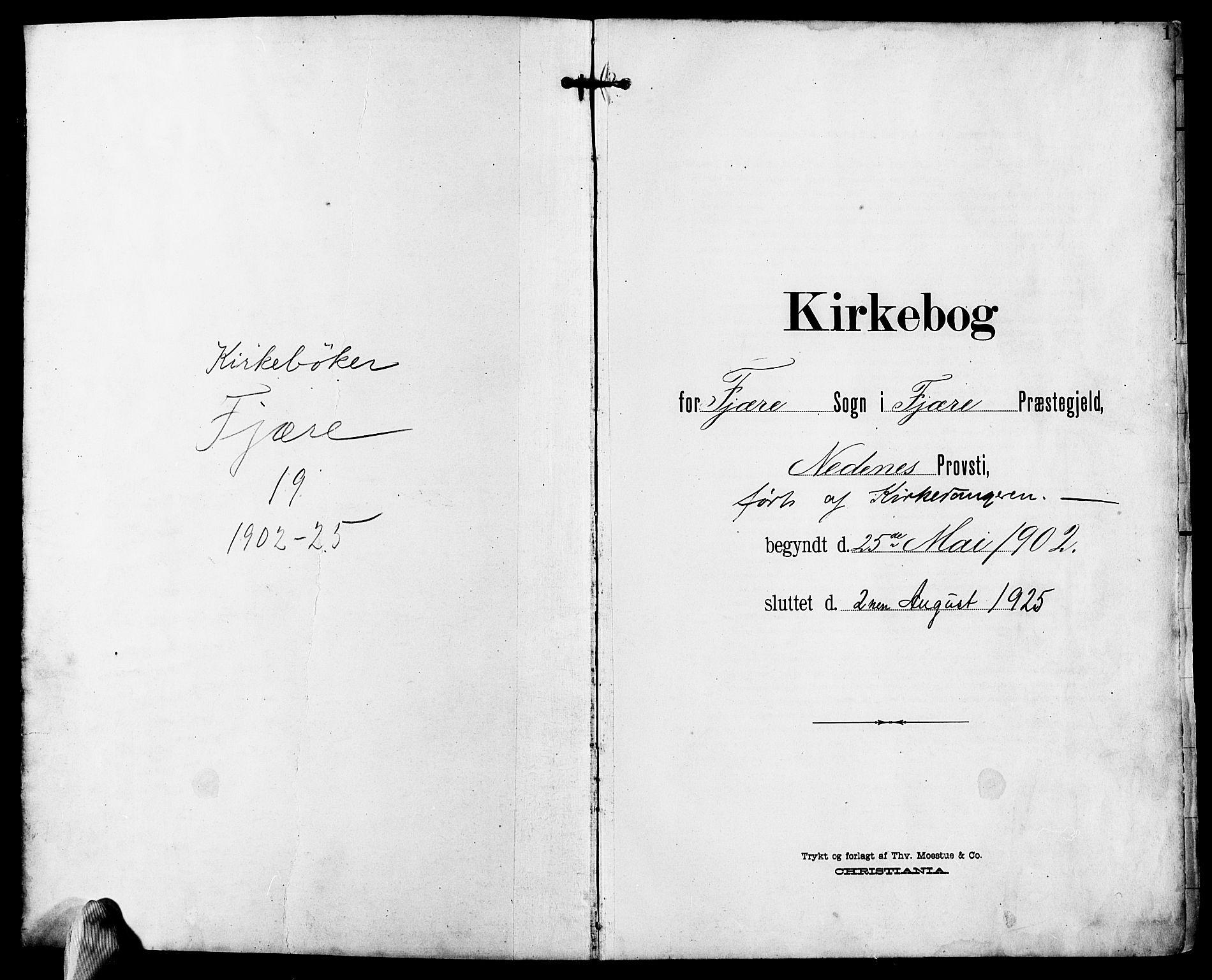 SAK, Fjære sokneprestkontor, F/Fb/L0012: Klokkerbok nr. B 12, 1902-1925, s. 1