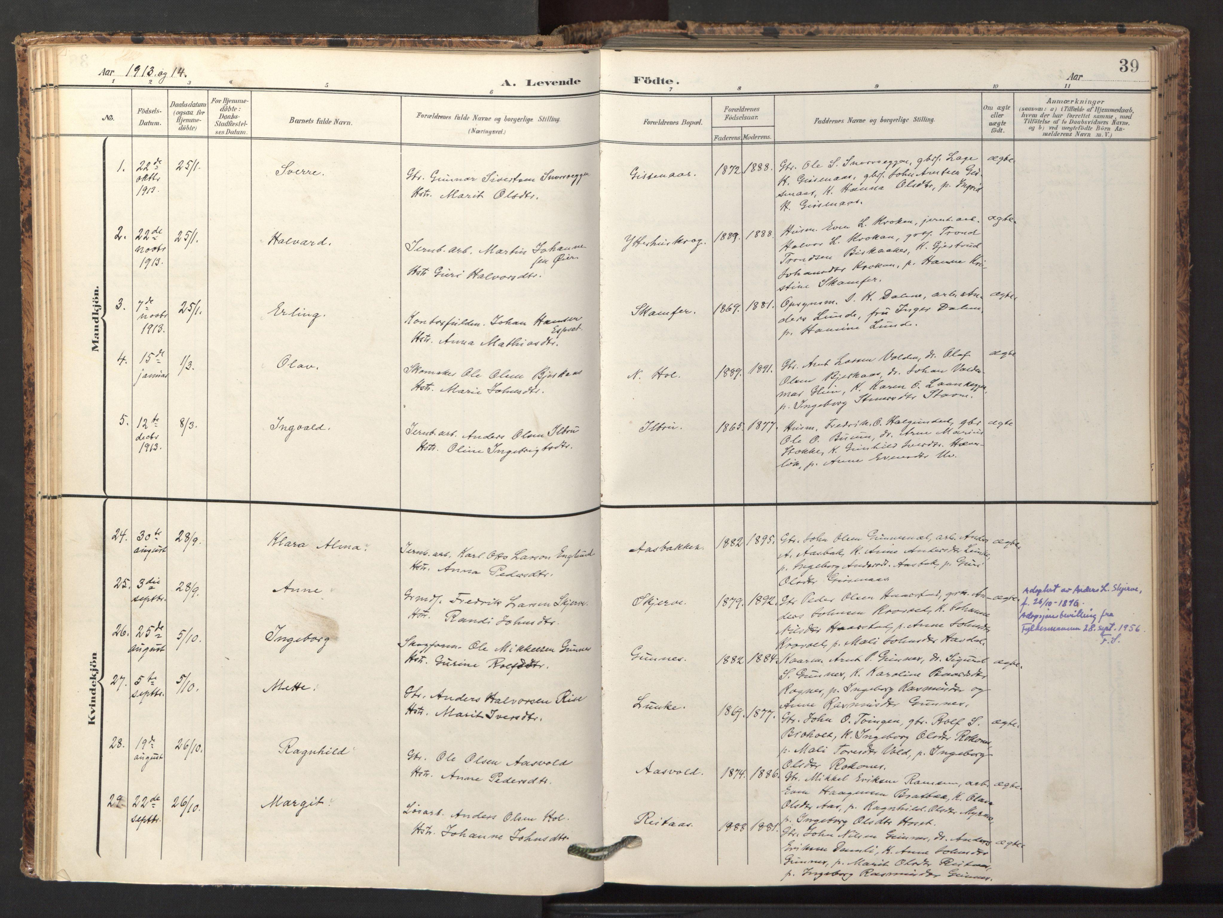 SAT, Ministerialprotokoller, klokkerbøker og fødselsregistre - Sør-Trøndelag, 674/L0873: Ministerialbok nr. 674A05, 1908-1923, s. 39