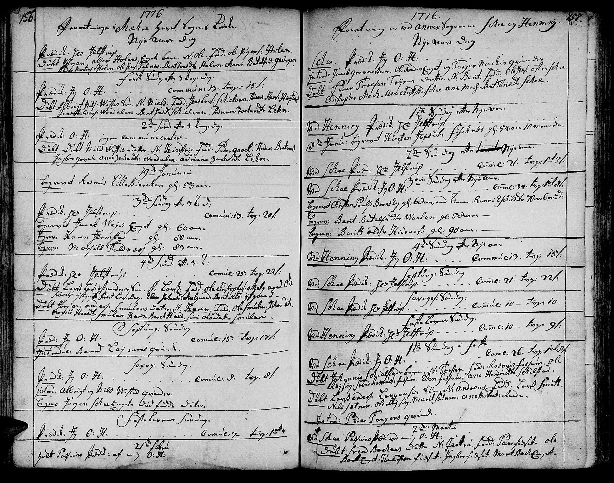 SAT, Ministerialprotokoller, klokkerbøker og fødselsregistre - Nord-Trøndelag, 735/L0331: Ministerialbok nr. 735A02, 1762-1794, s. 156-157