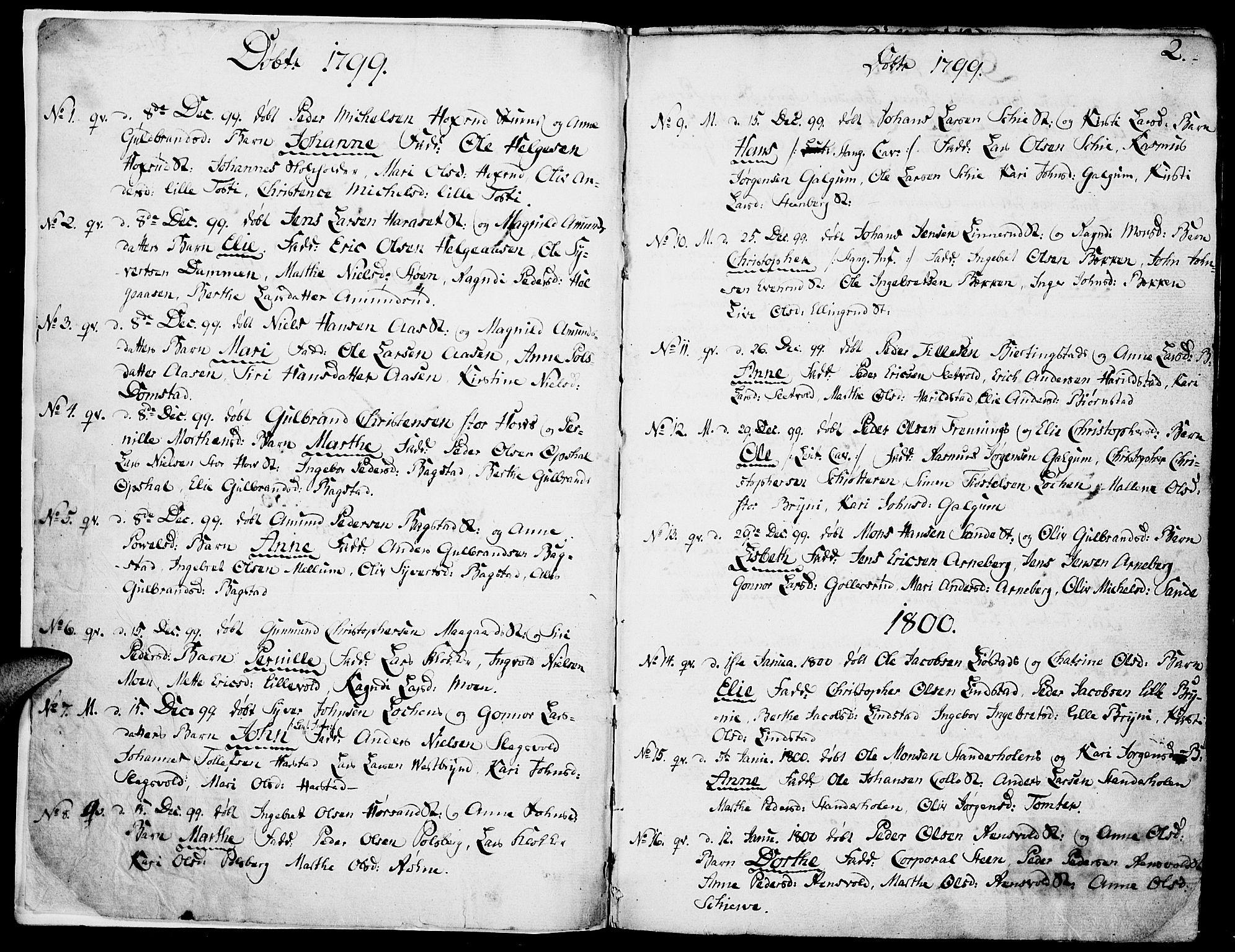 SAH, Romedal prestekontor, K/L0001: Ministerialbok nr. 1, 1799-1814, s. 2