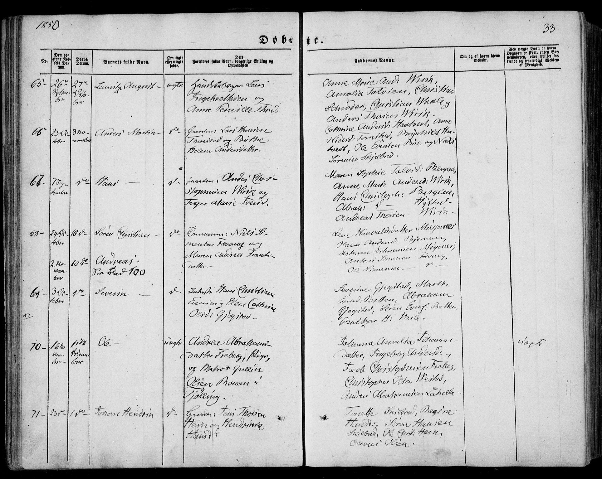 SAKO, Sandar kirkebøker, F/Fa/L0006: Ministerialbok nr. 6, 1847-1860, s. 33