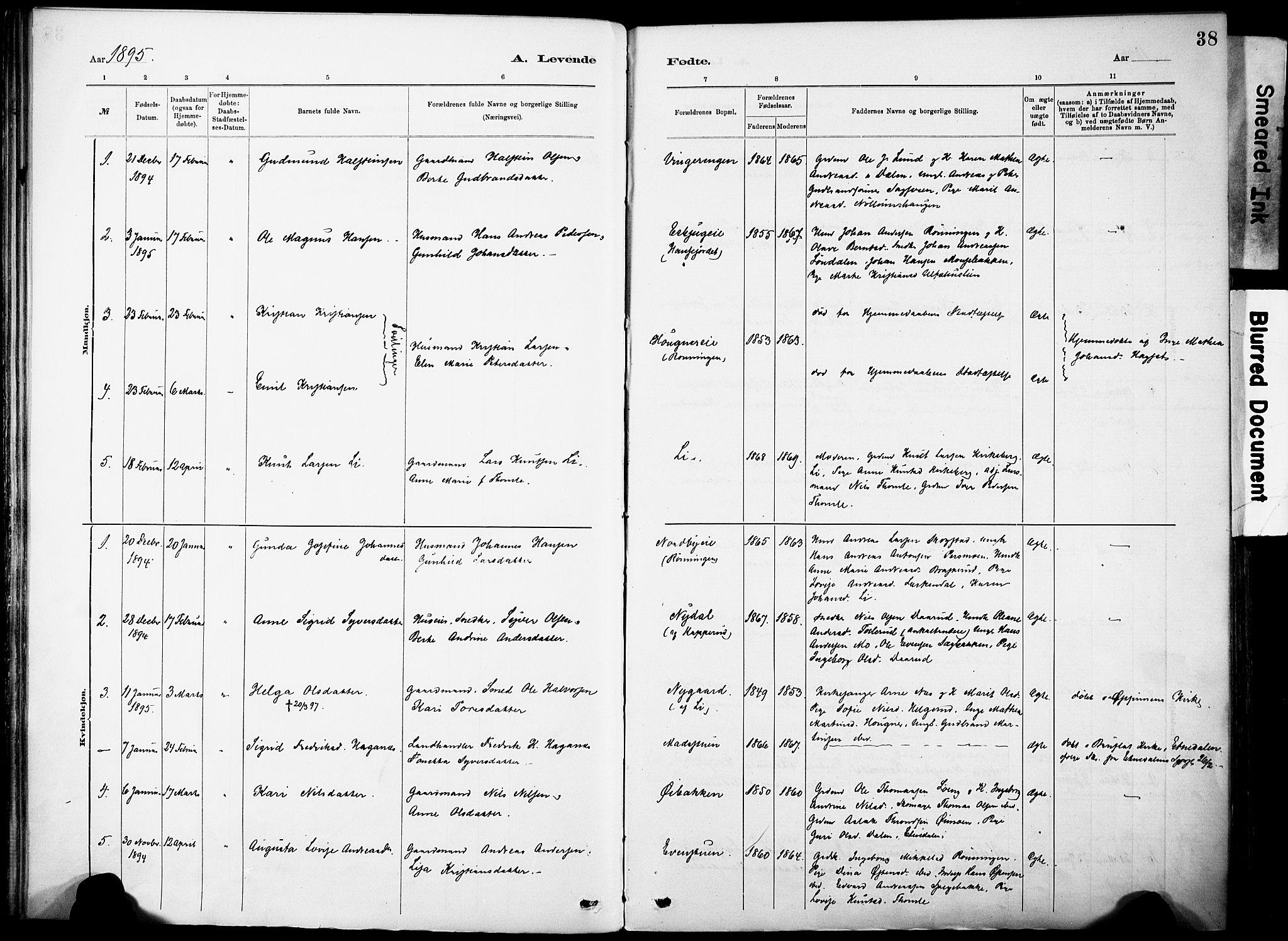 SAH, Nordre Land prestekontor, Ministerialbok nr. 5, 1882-1903, s. 38